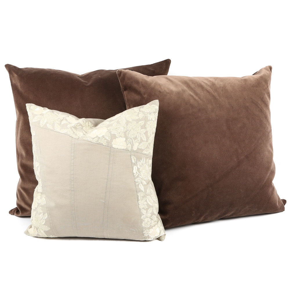 Decorative Feather-Filled Pillows Featuring DKNY