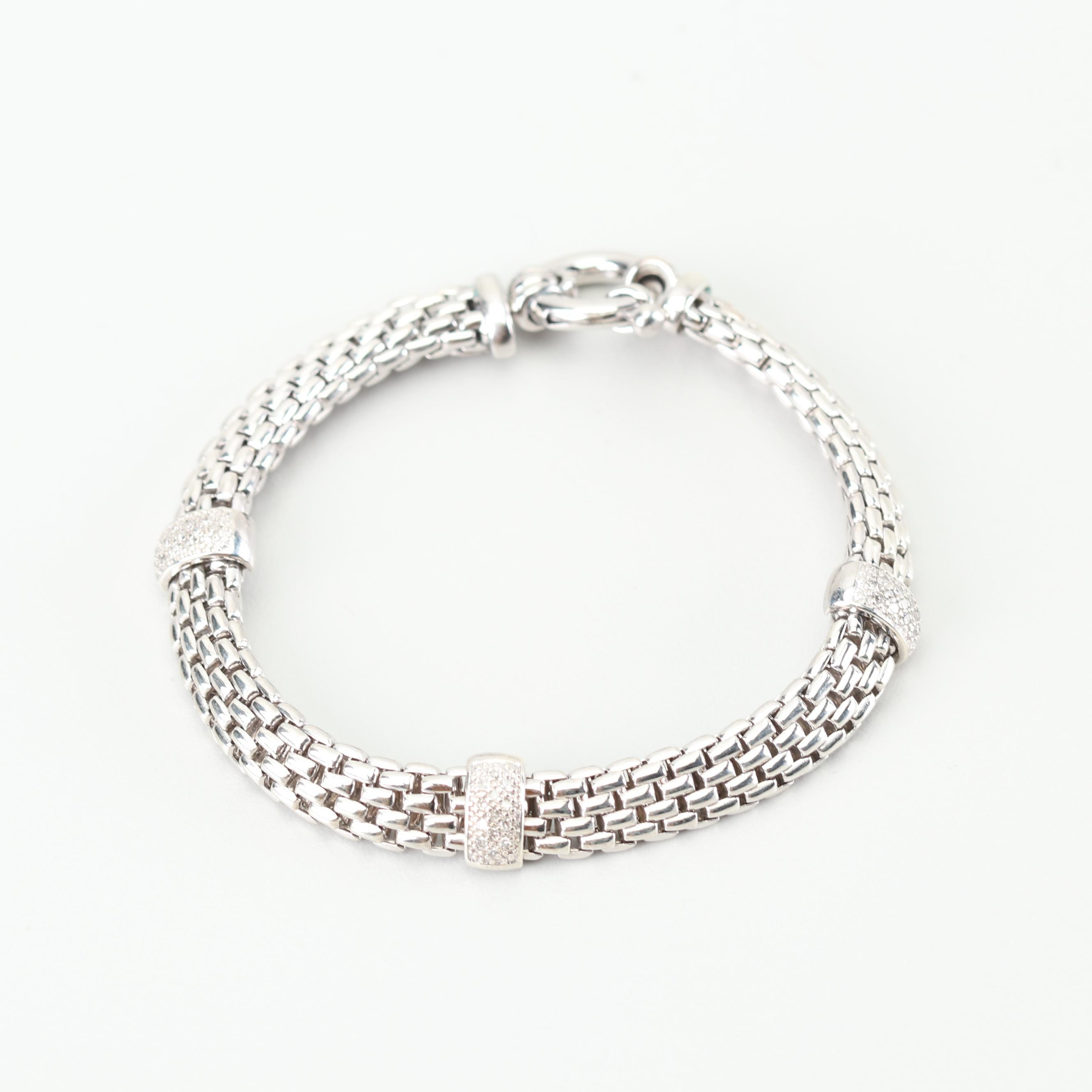 Sterling Silver Panther Link Diamond Accent Bracelet