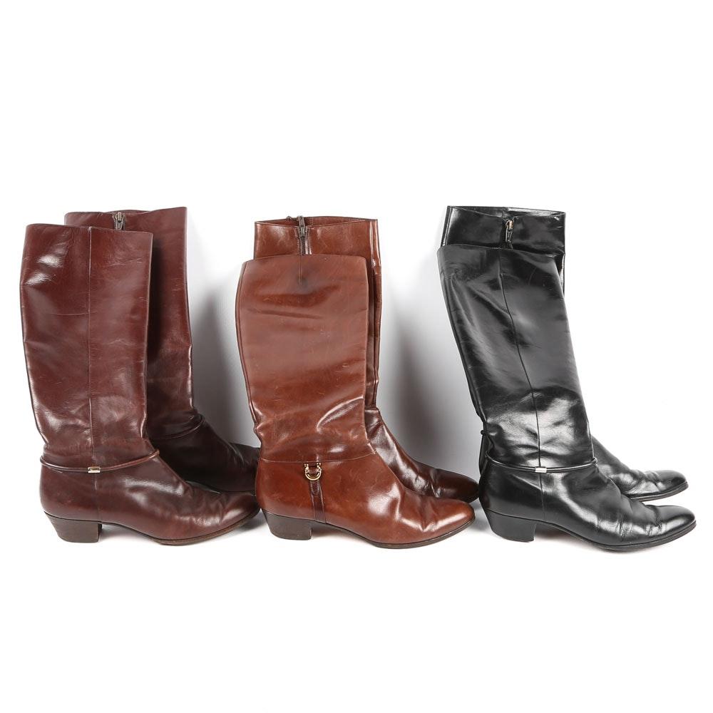 Three Pairs of Women's Salvatore Ferragamo Leather Boots