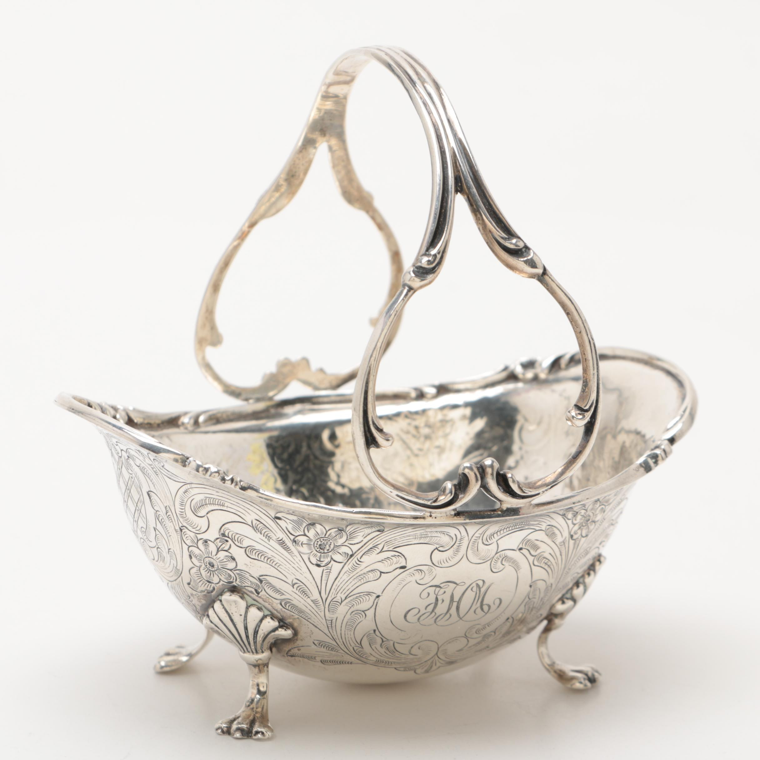 Antique Hand-Chaised Sterling Silver Footed and Handled Sugar Basket