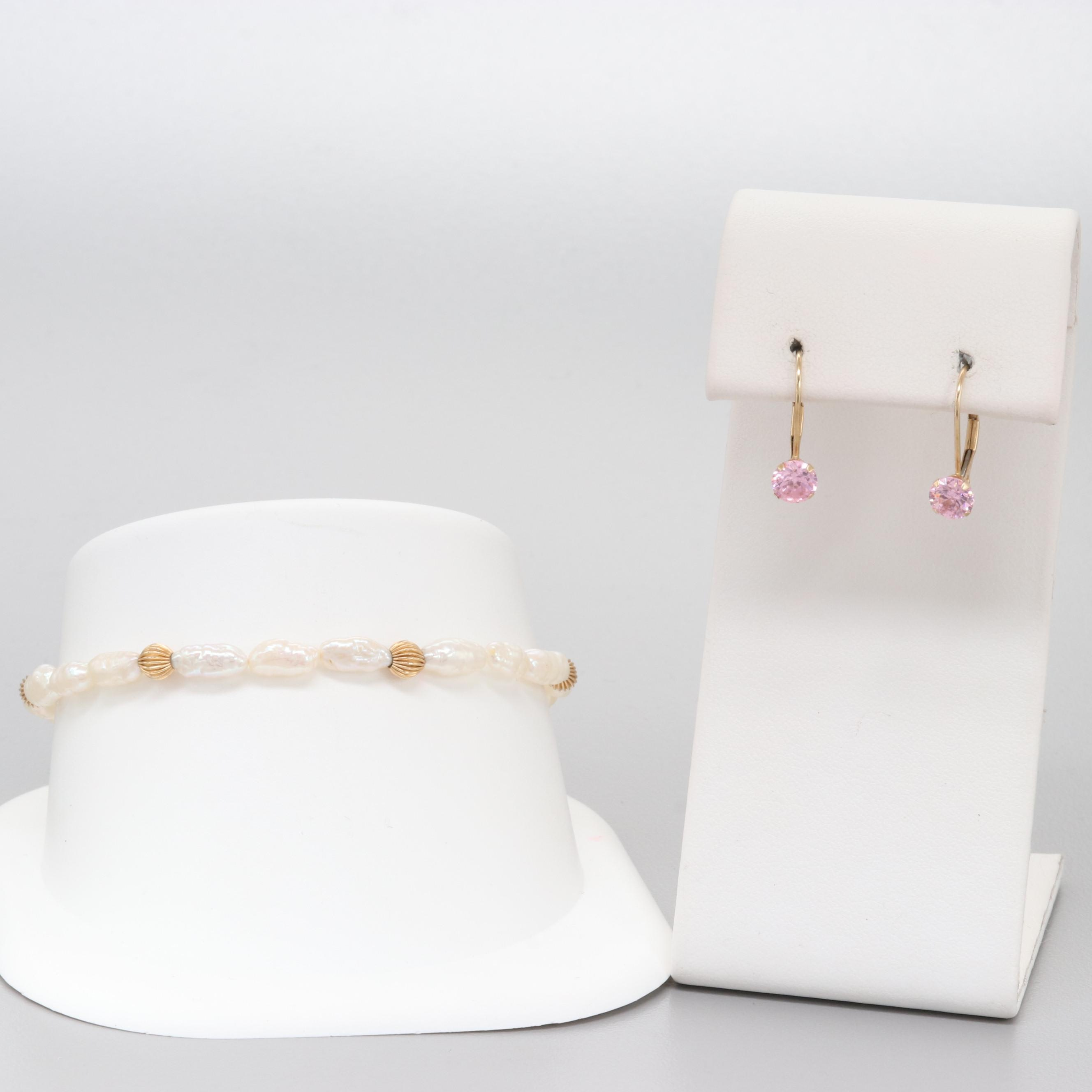 14K Yellow Gold Bracelet and Earrings with Cultured Pearl and Cubic Zirconia