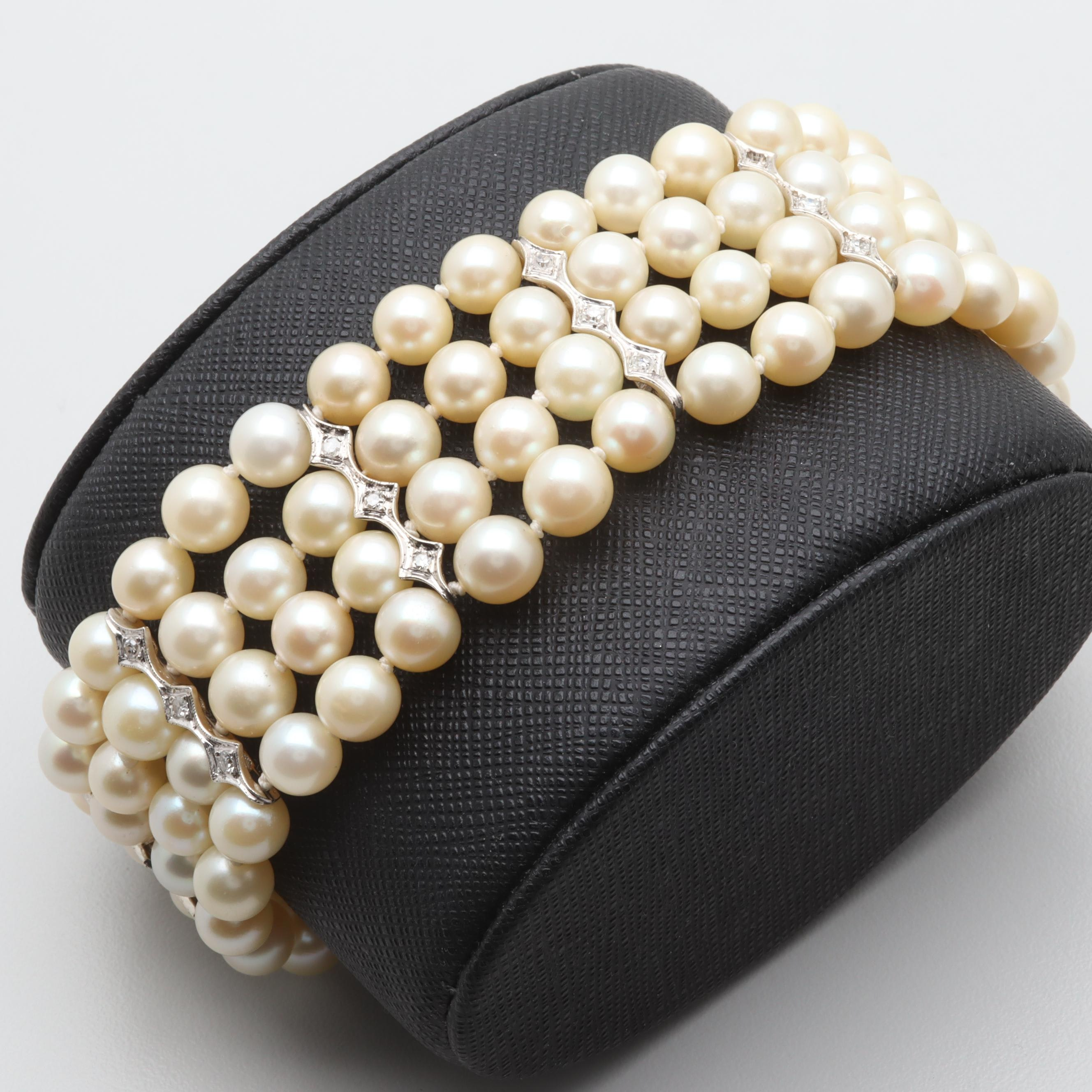 14K White Gold Cultured Pearl and Diamond Bracelet