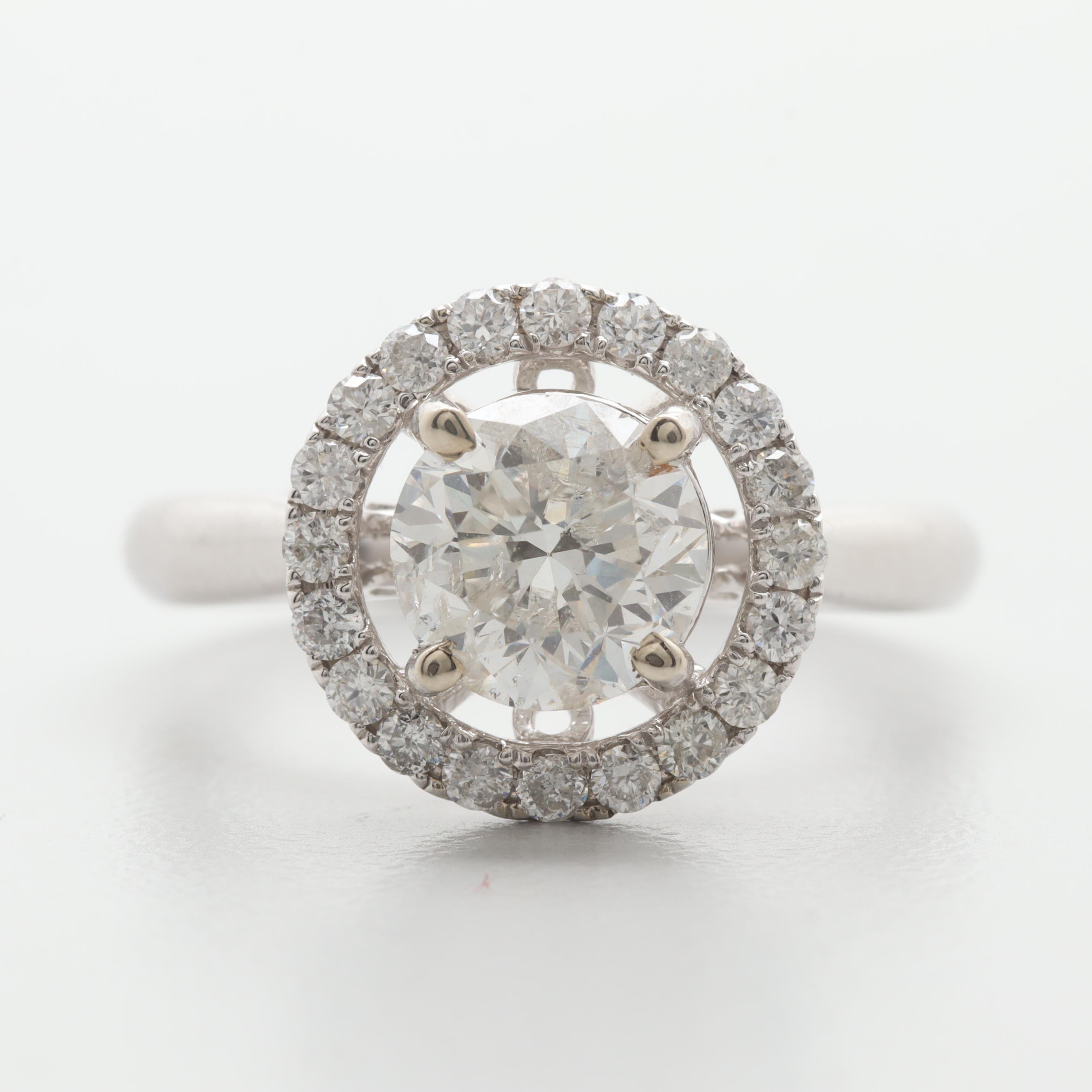 14K White Gold 1.87 CTW Diamond Ring