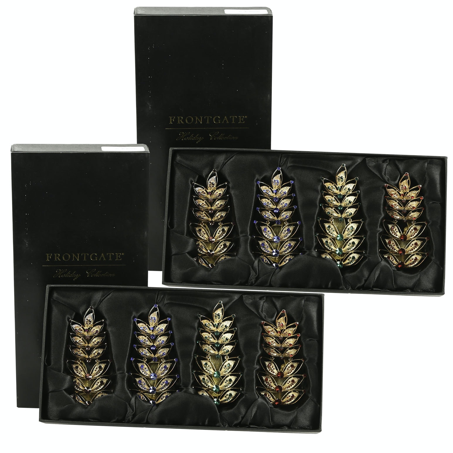 "Frontgate ""Jeweled Leaf"" Tree Ornaments"