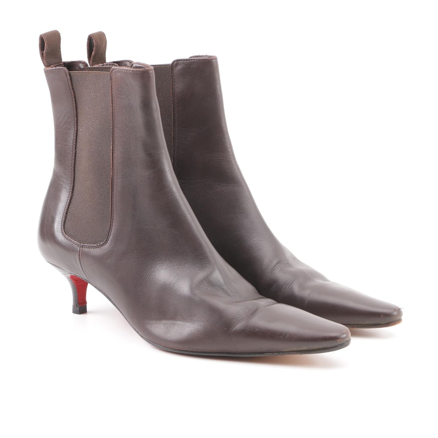 the latest 9e92c 46735 Christian Louboutin of Paris Brown Leather Kitten Heel Ankle Boots