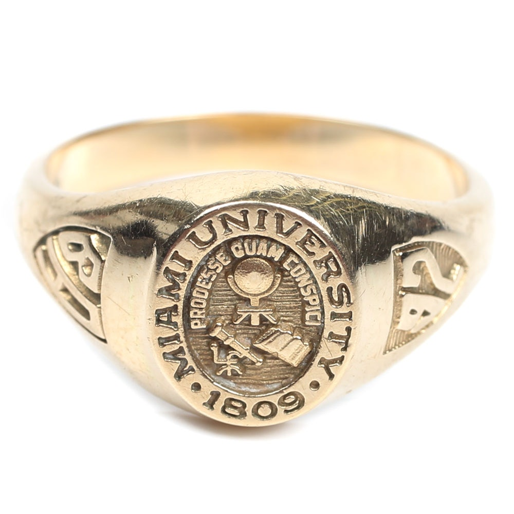 14K Yellow Gold Miami University 1992 Class Ring