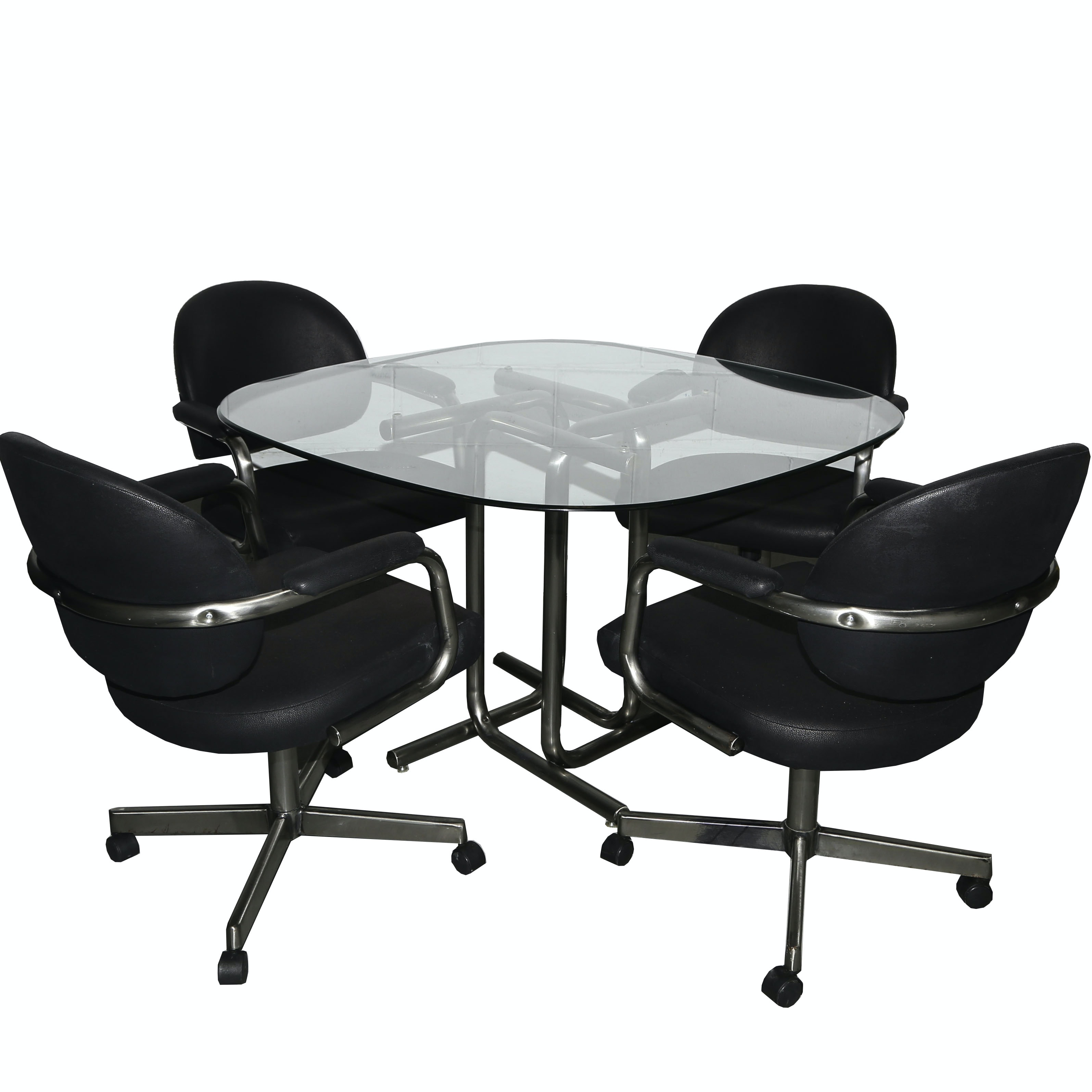 Modern Leather and Glass Table and Chair Set
