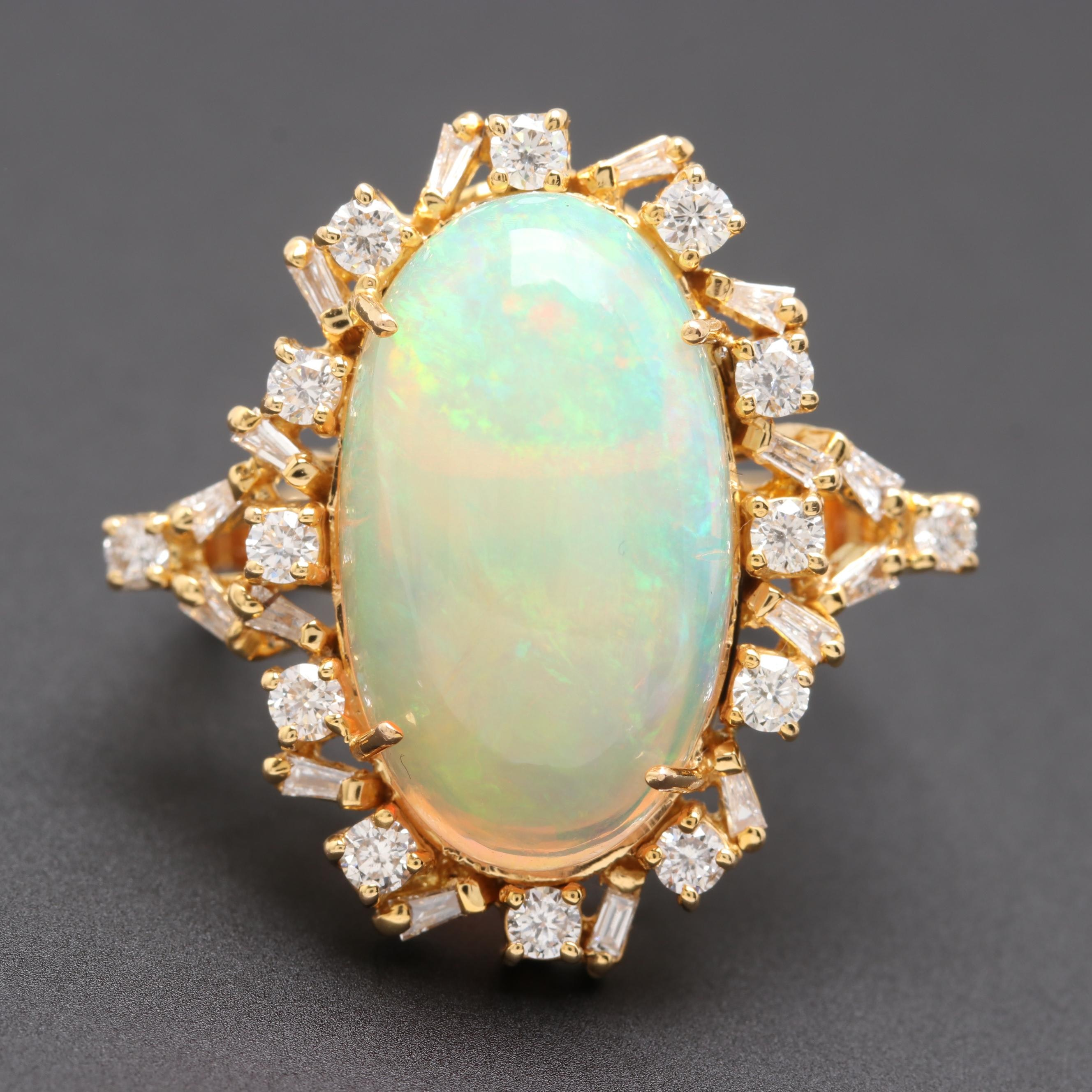 18K Yellow Gold 7.14 CT Jelly Opal and Diamond Cocktail Ring