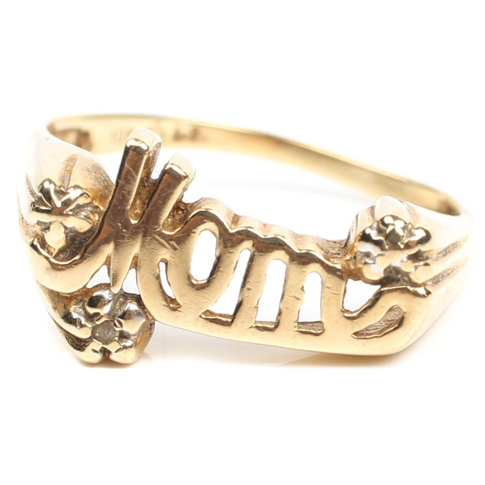 "10K Yellow Gold and Diamond ""MOM"" Ring"