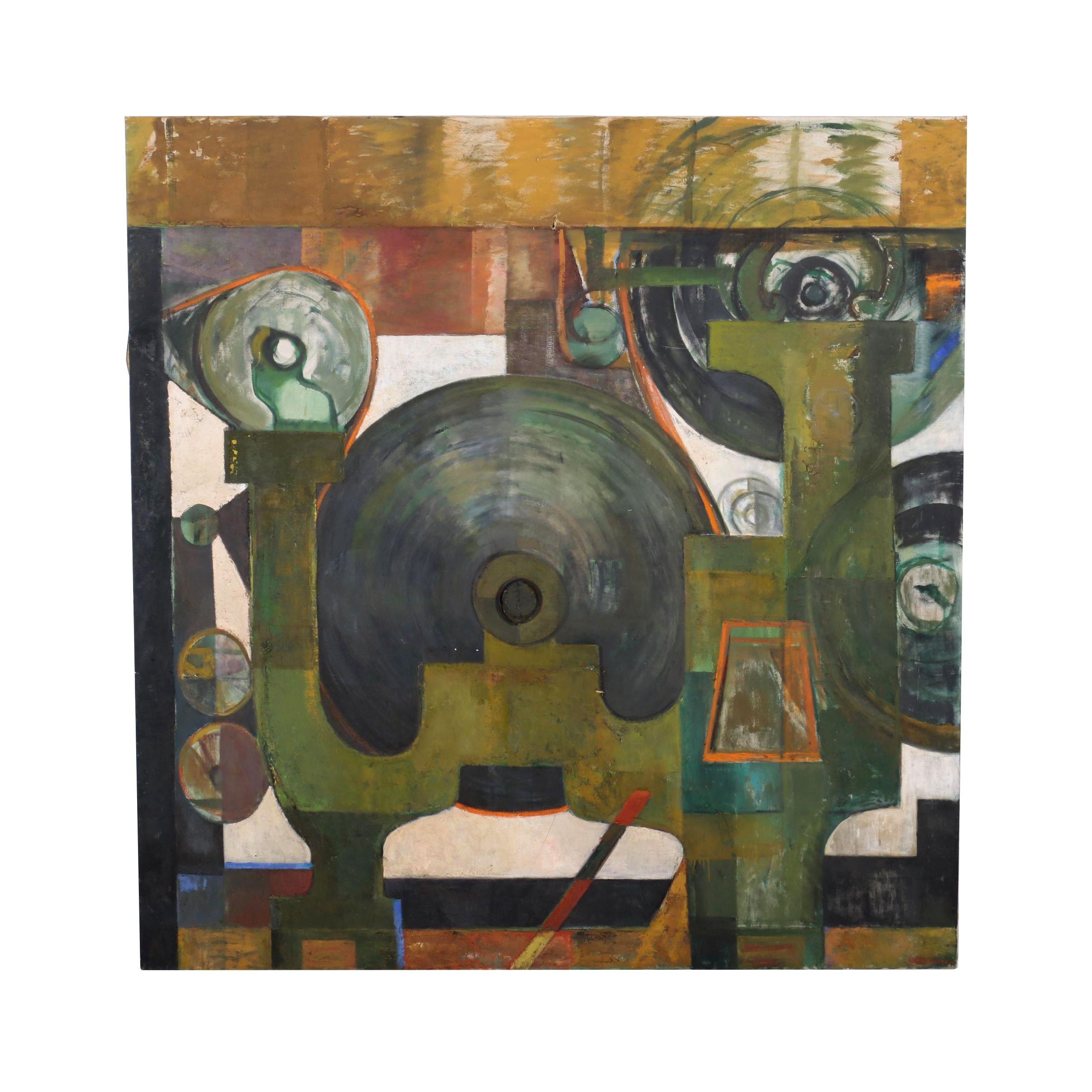 Louise Pershing Monumental Mixed Media Painting