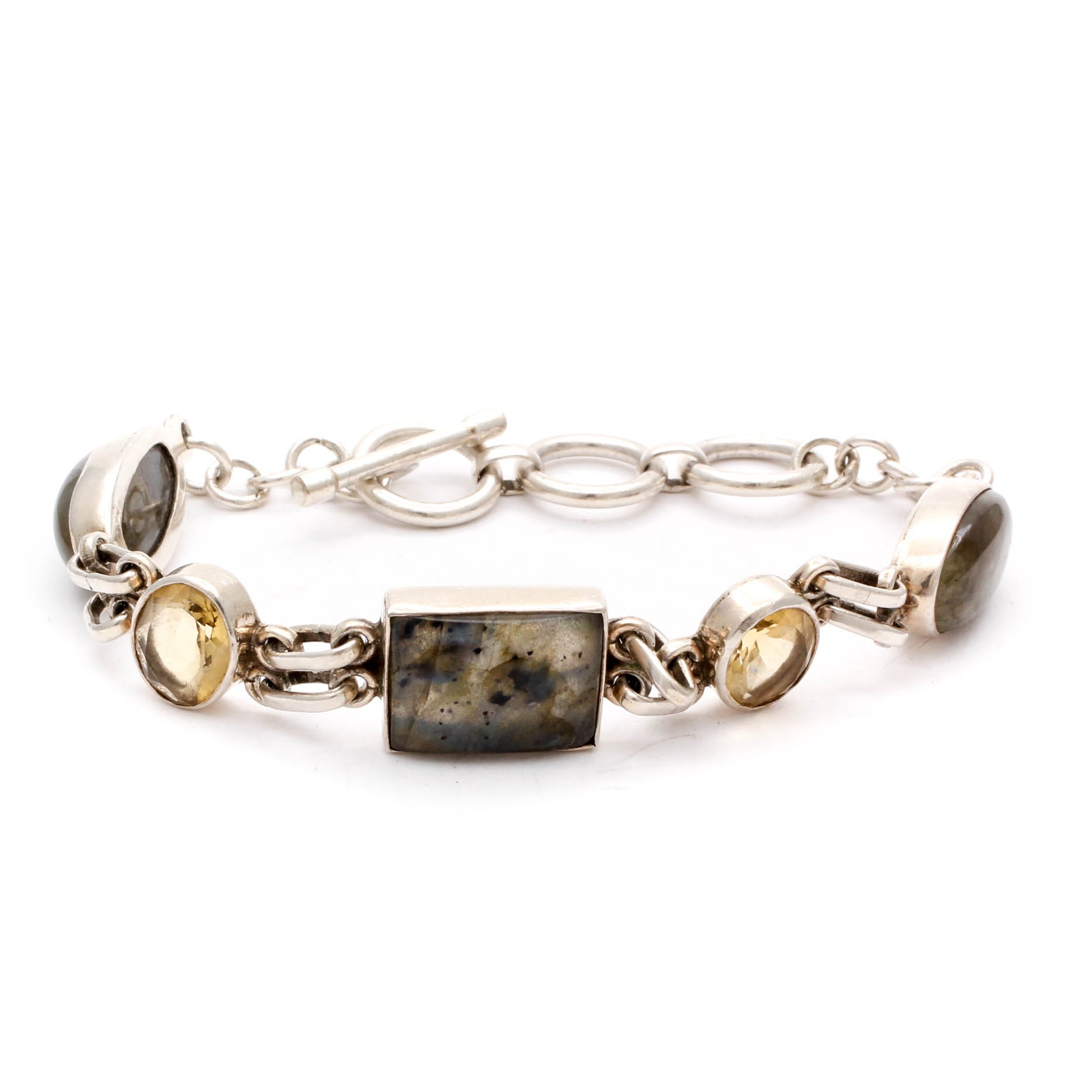 Sterling Silver Labradorite and Citrine Bracelet