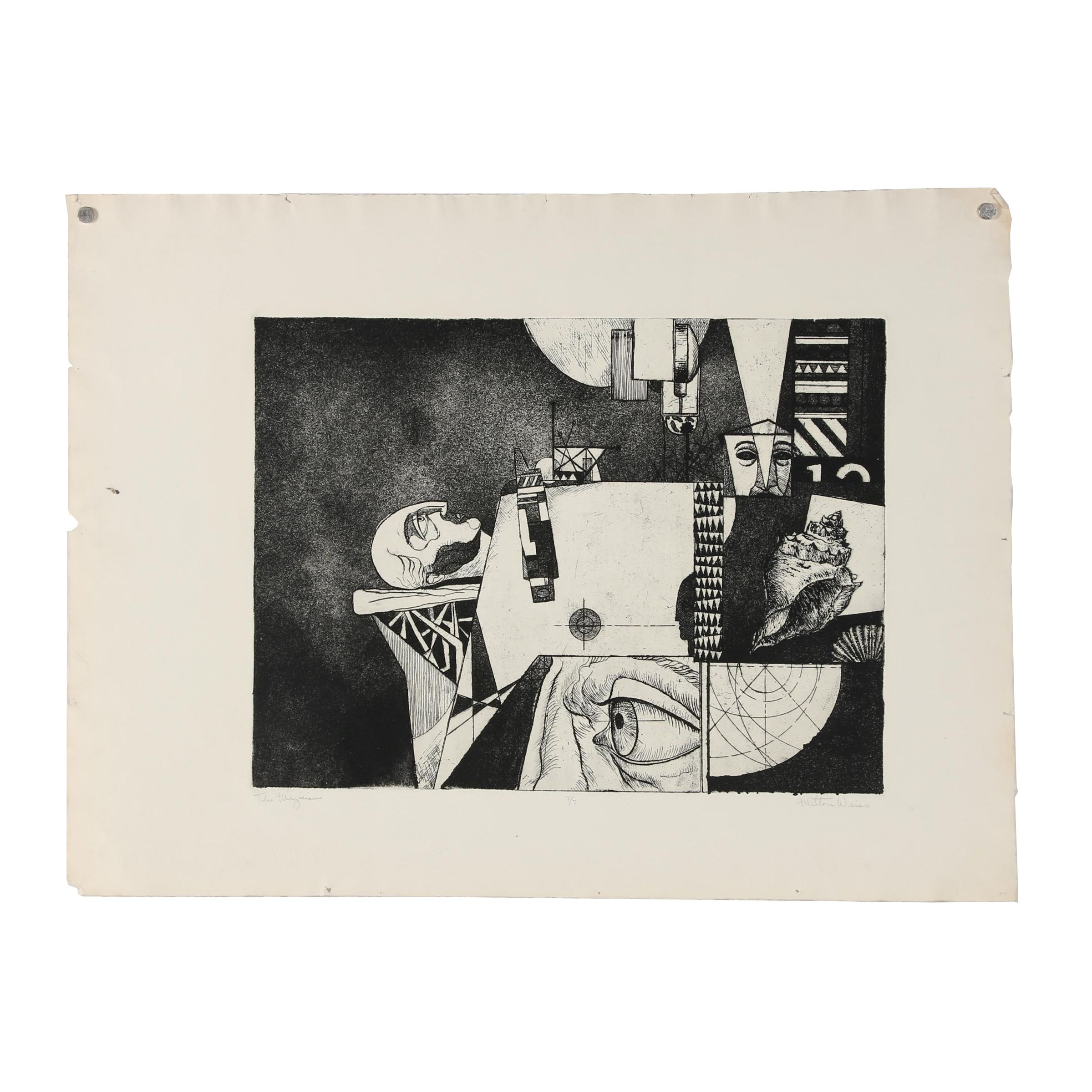 "Milton Weiss Etching with Aquatint ""The Magician"""