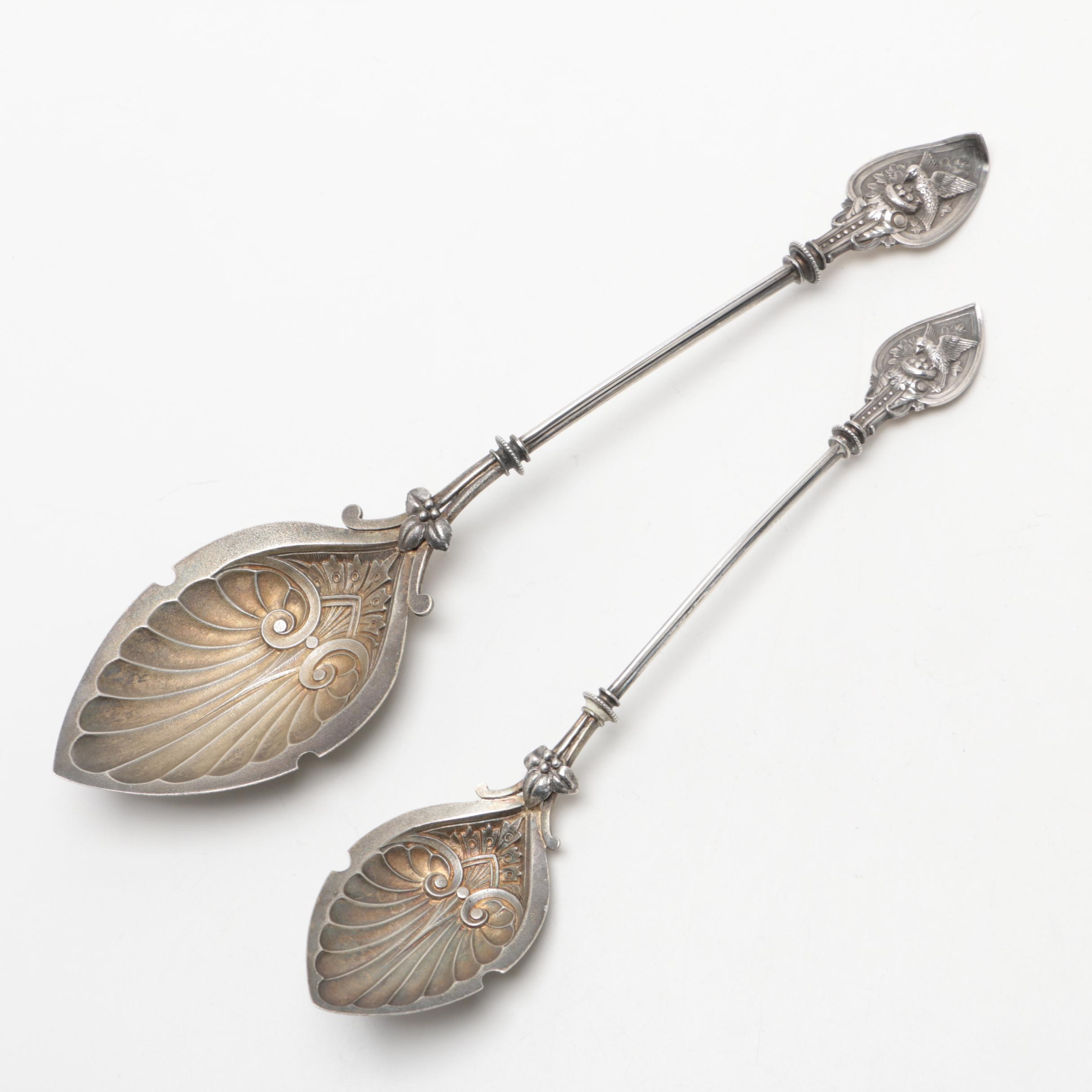 Mid to Late 19th Century Bird and Nest Patterned Sterling Silver Serving Spoons