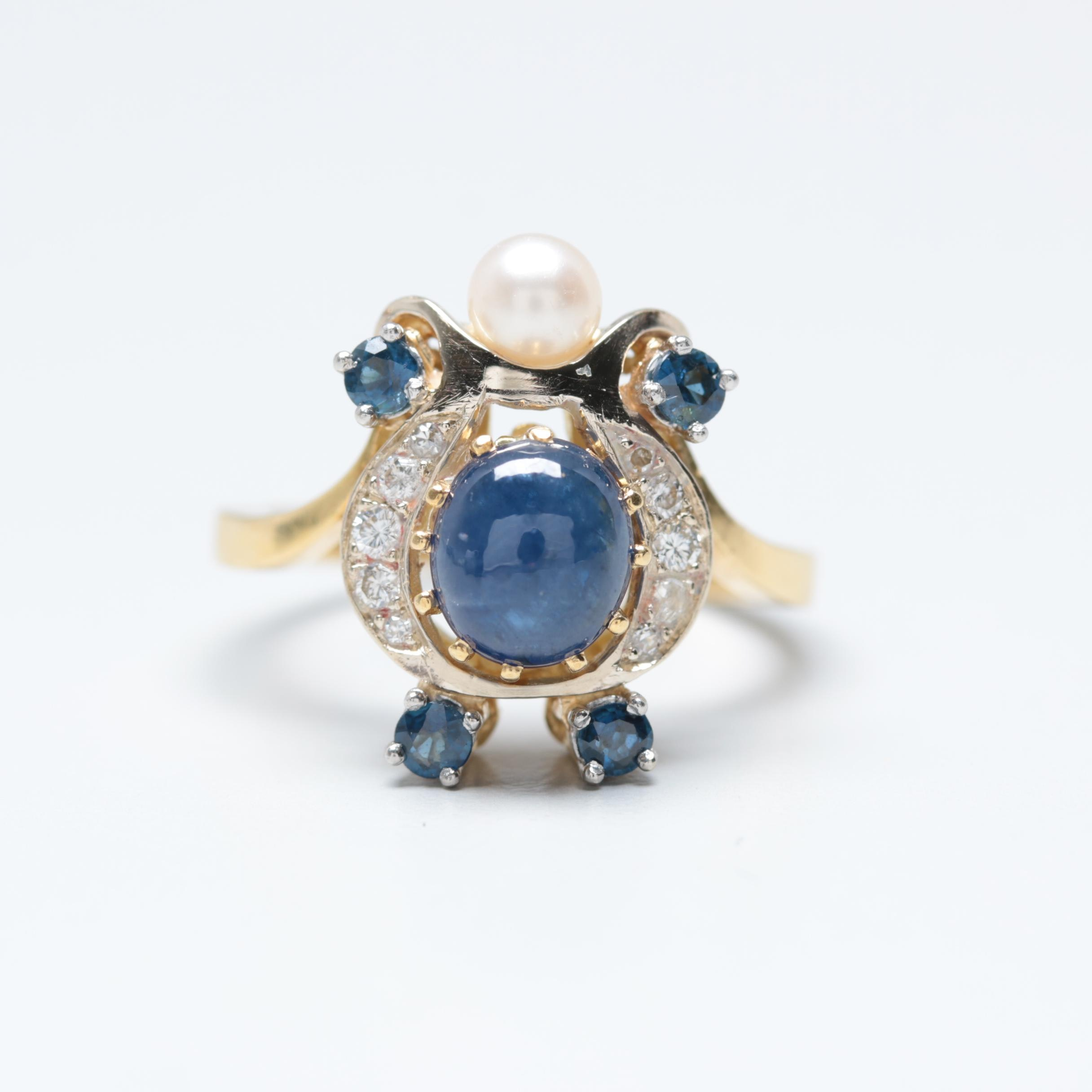 18K Yellow Gold Sapphire, Cultured Pearl and Diamond Ring