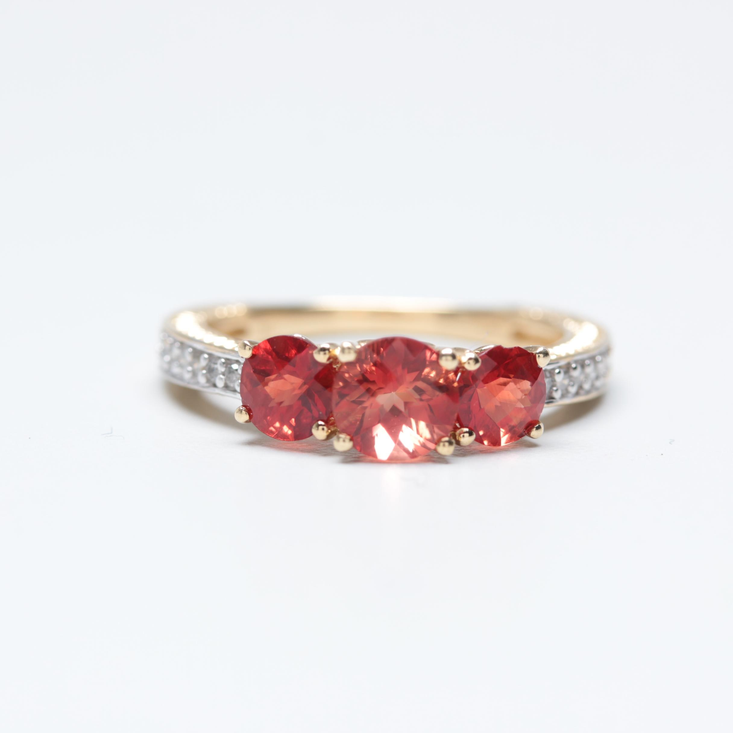 10K Yellow Gold Andesine and Diamond Ring