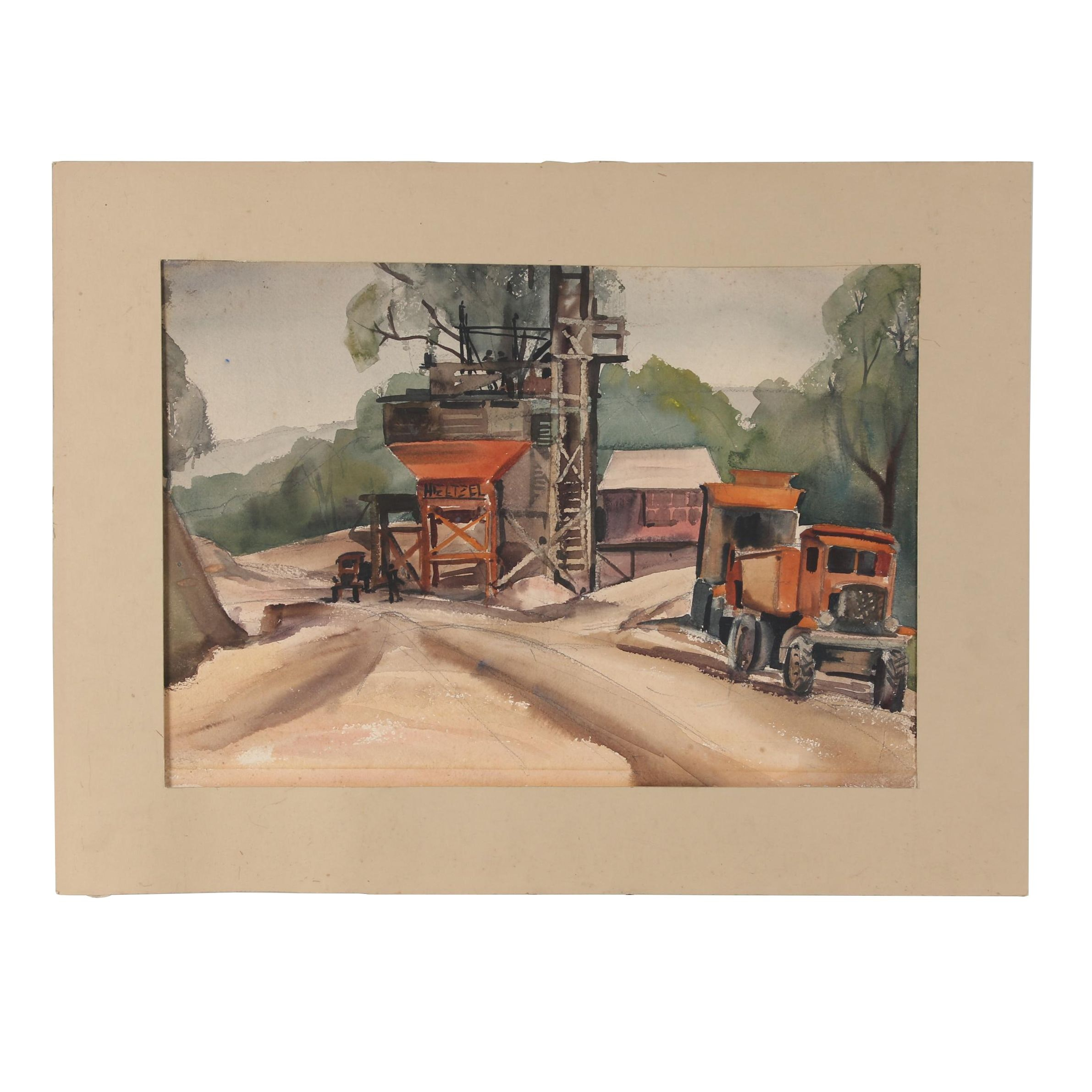 Mid-Late 20th Century Watercolor Painting