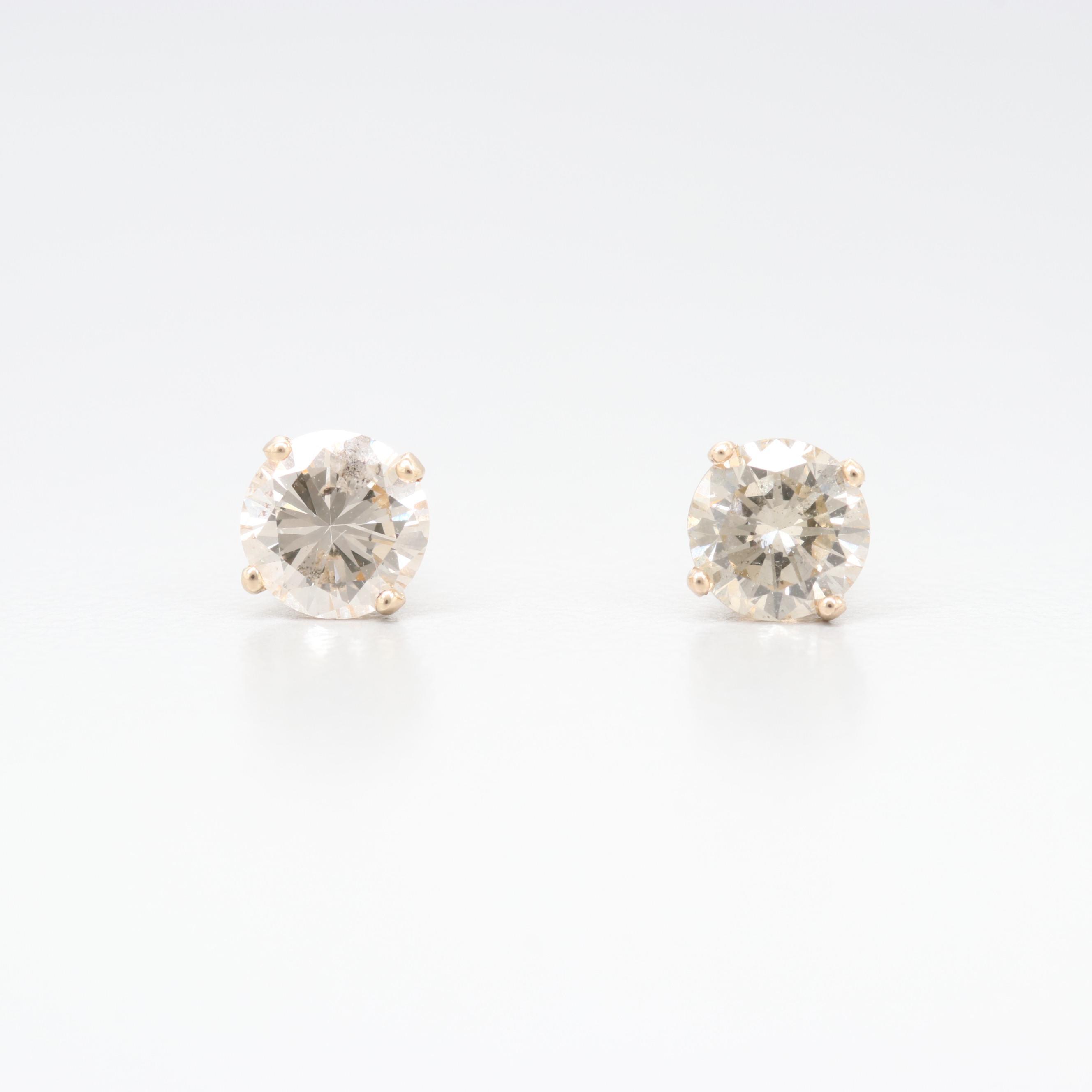 14K Yellow Gold 1.05 CTW Diamond Stud Earrings