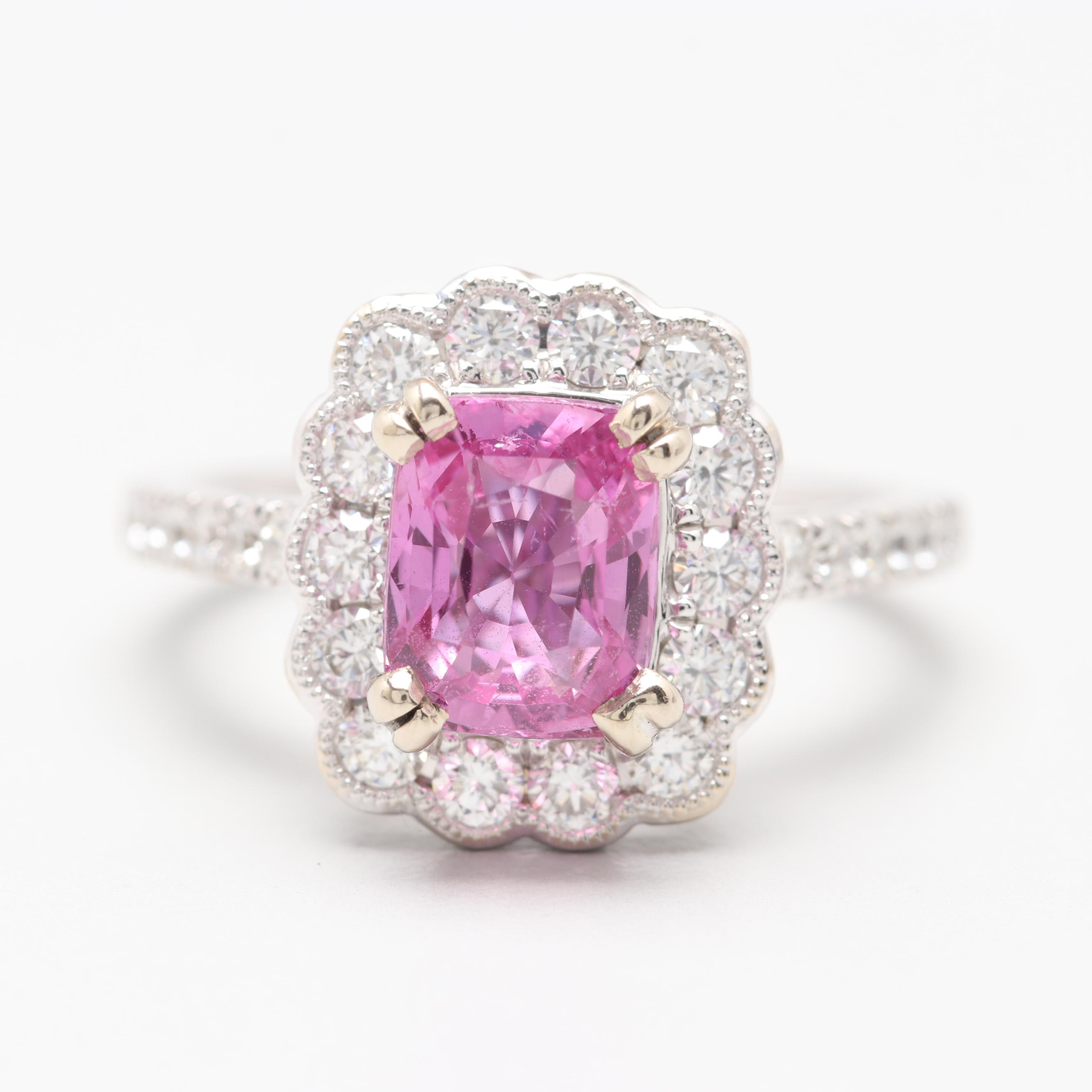 14K White Gold 1.82 CT Pink Sapphire and Diamond Ring