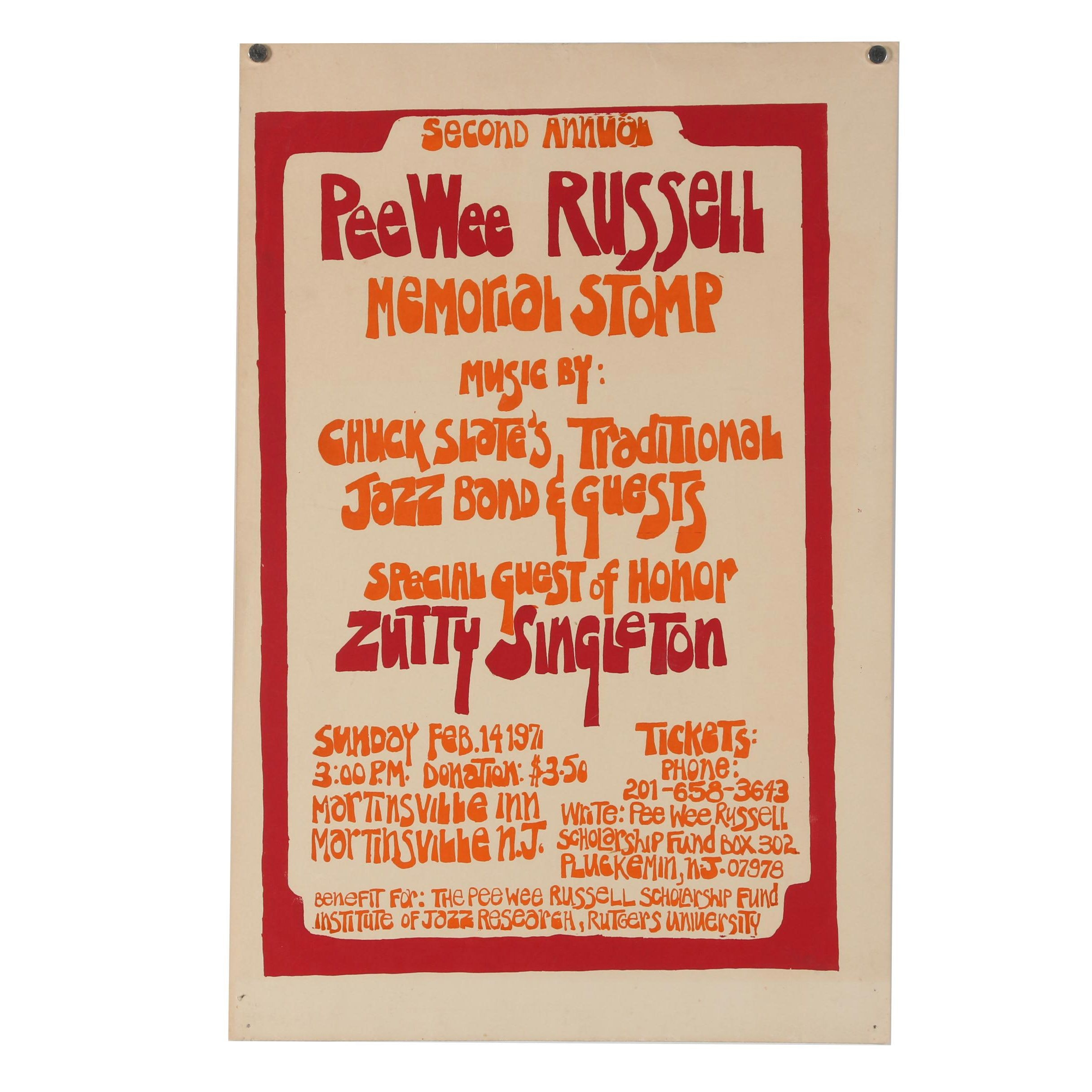 1971 Second Annual PeeWee Russell Memorial Stomp Promotional Poster