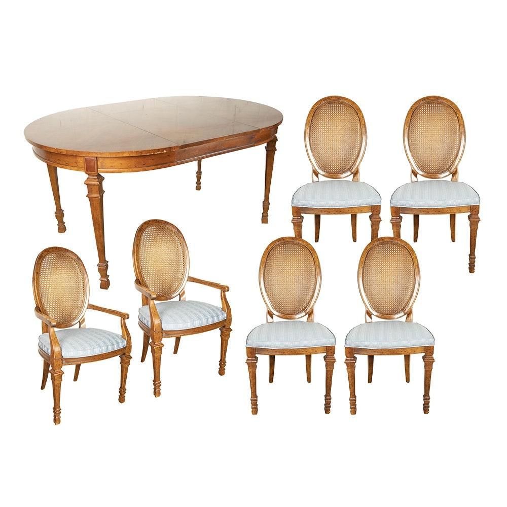 "Louis XVI Style Pecan ""Francesca"" Dining Set by Drexel, 20th Century"