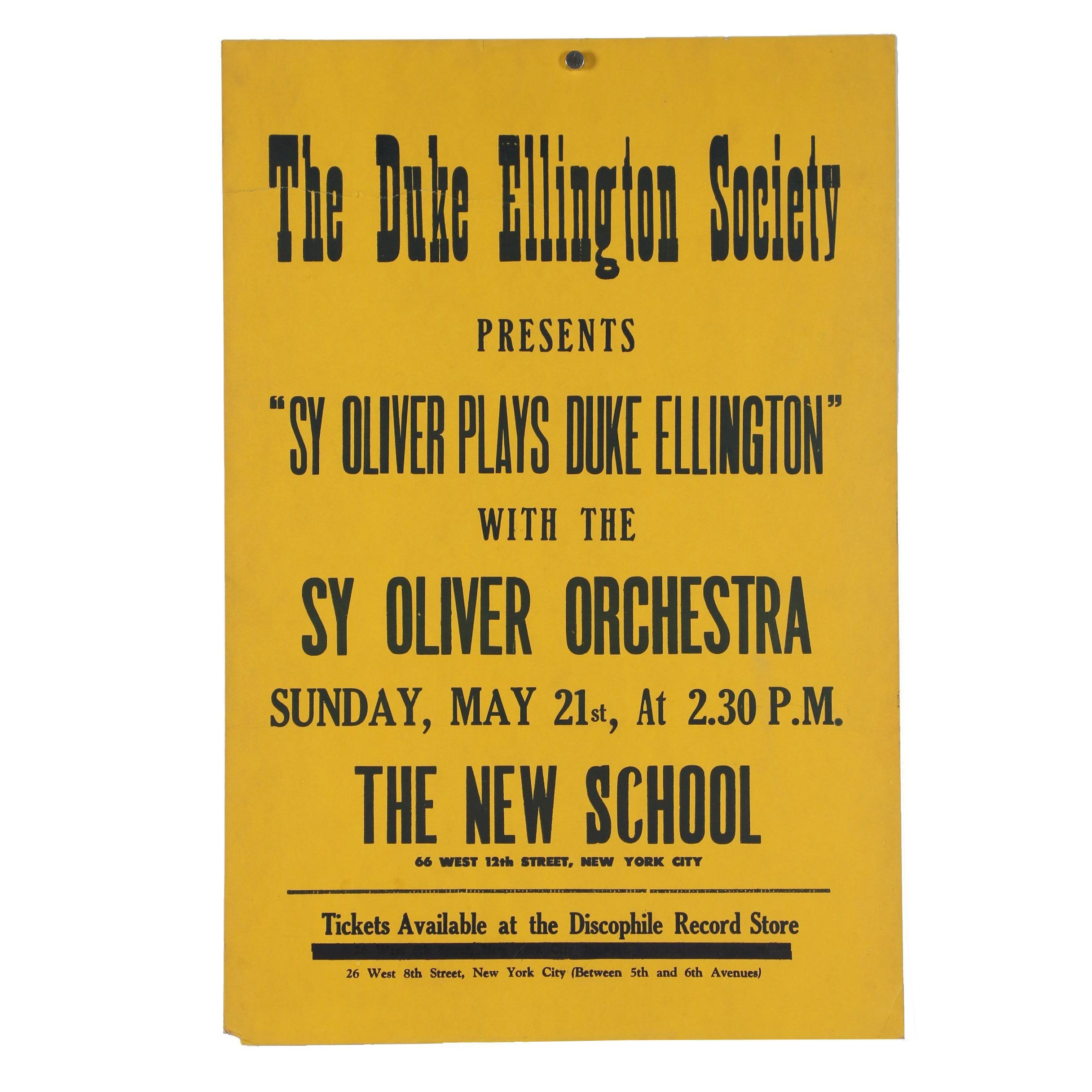 1972 Sy Oliver Orchestra Concert Poster