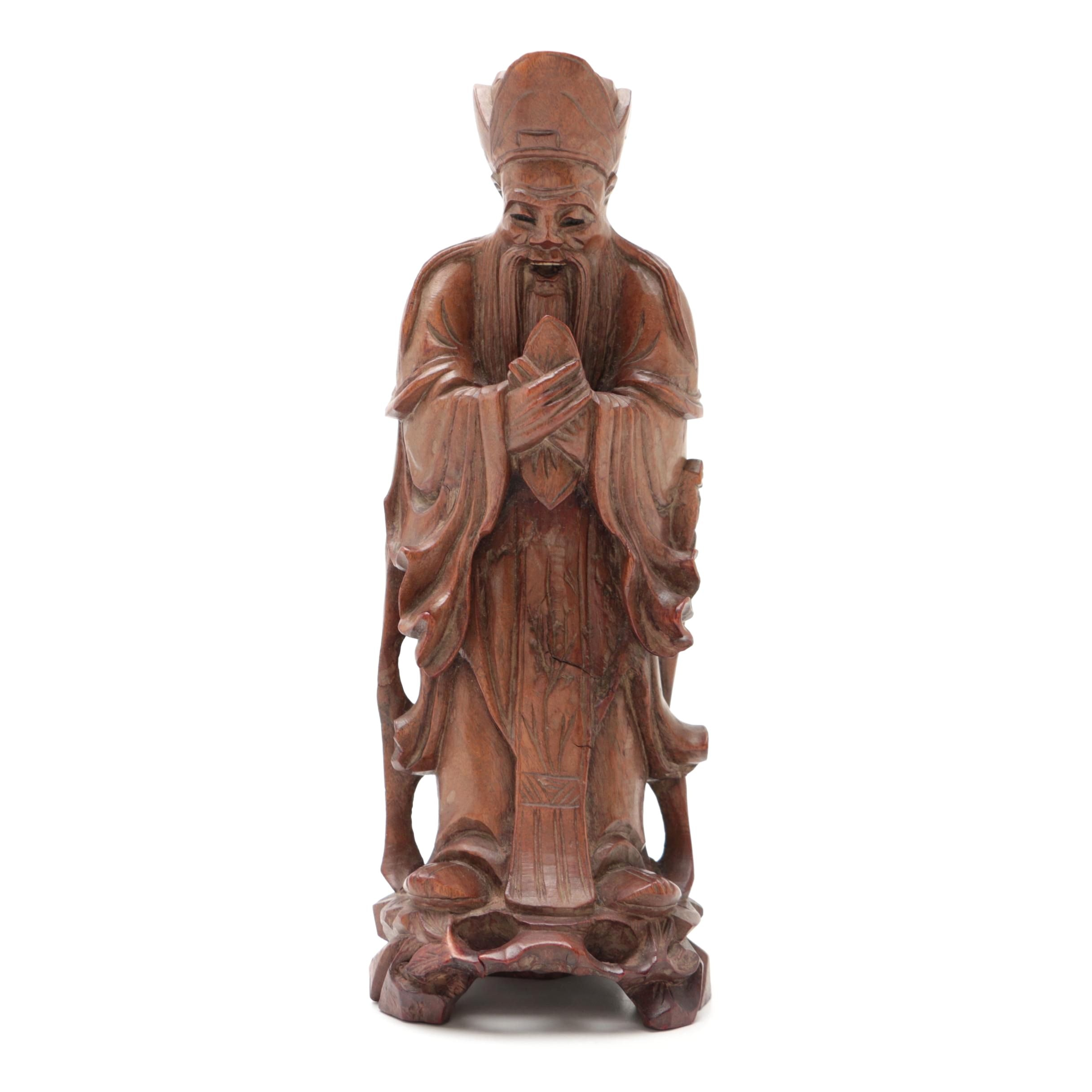 Chinese Carved Rosewood Scholar Figure