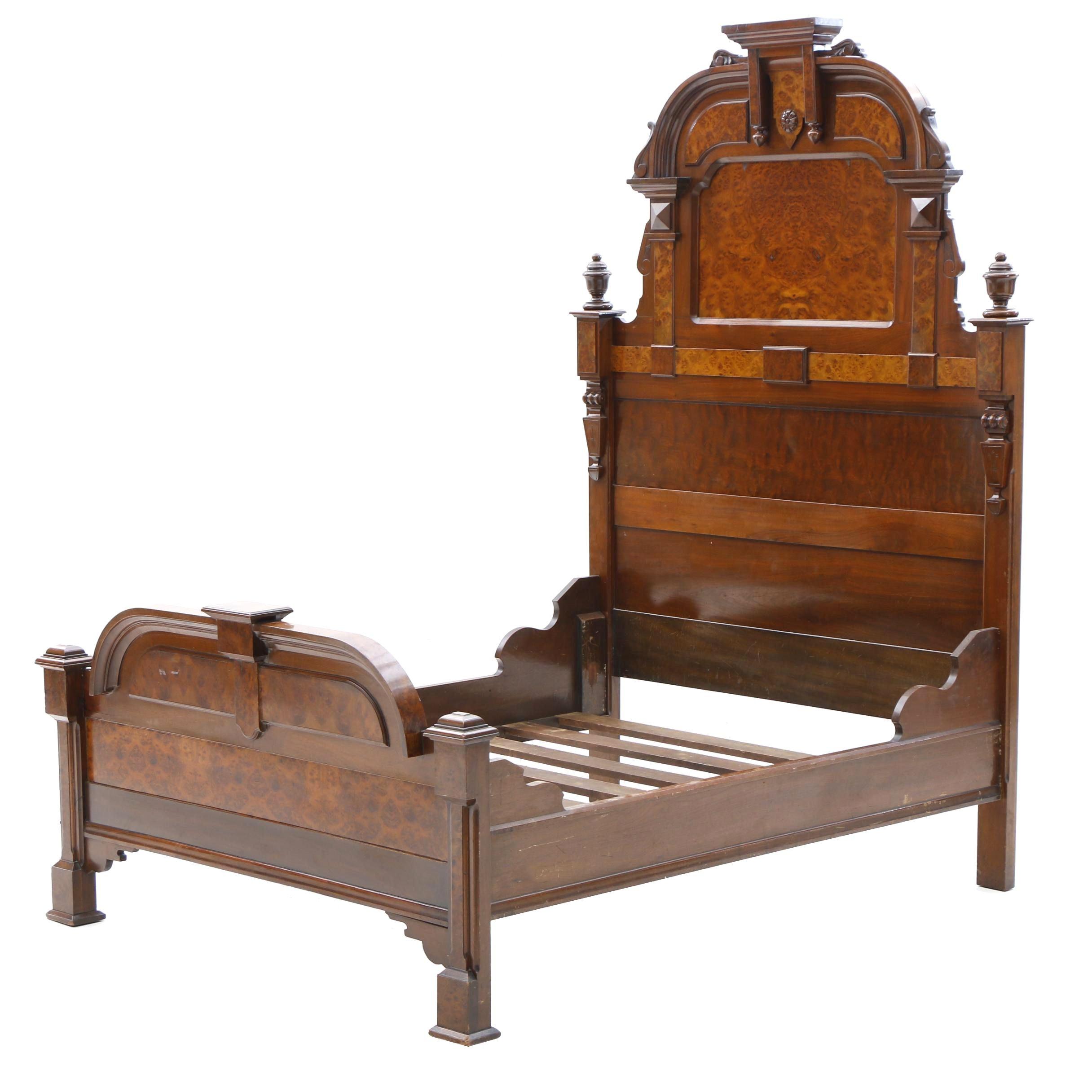 Victorian Walnut Full Size Bed Frame, Circa 1870