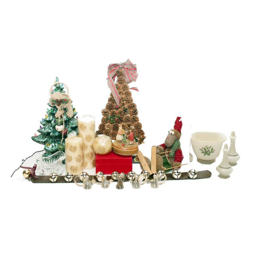 "Christmas Ornaments and Décor Including Reuge ""Happy Birthday"" Musical Figurine"