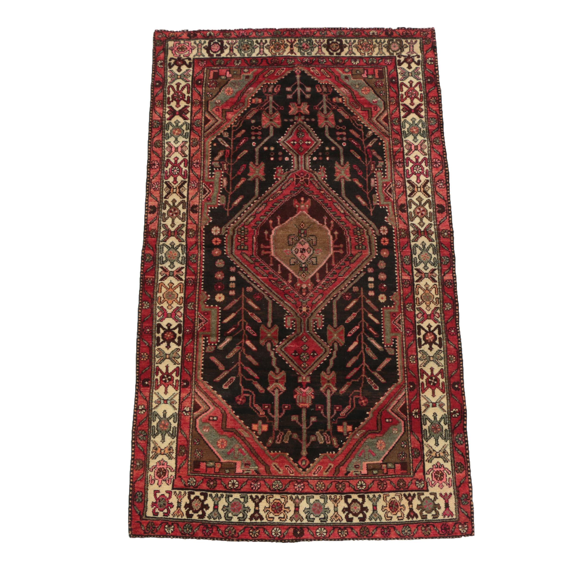 Hand-Knotted Persian Hamadan Wool Rug