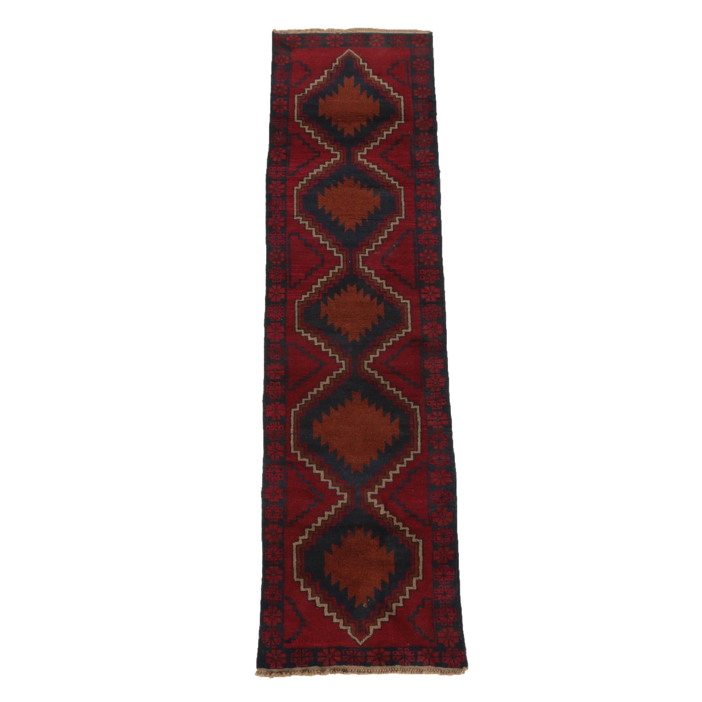 Hand-Knotted Pakistani Baluch Wool Runner