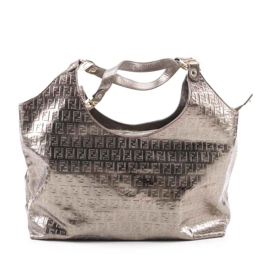 72ac016afea1 Fendi Bronze Metallic FF Embossed Leather Hobo Bag   EBTH