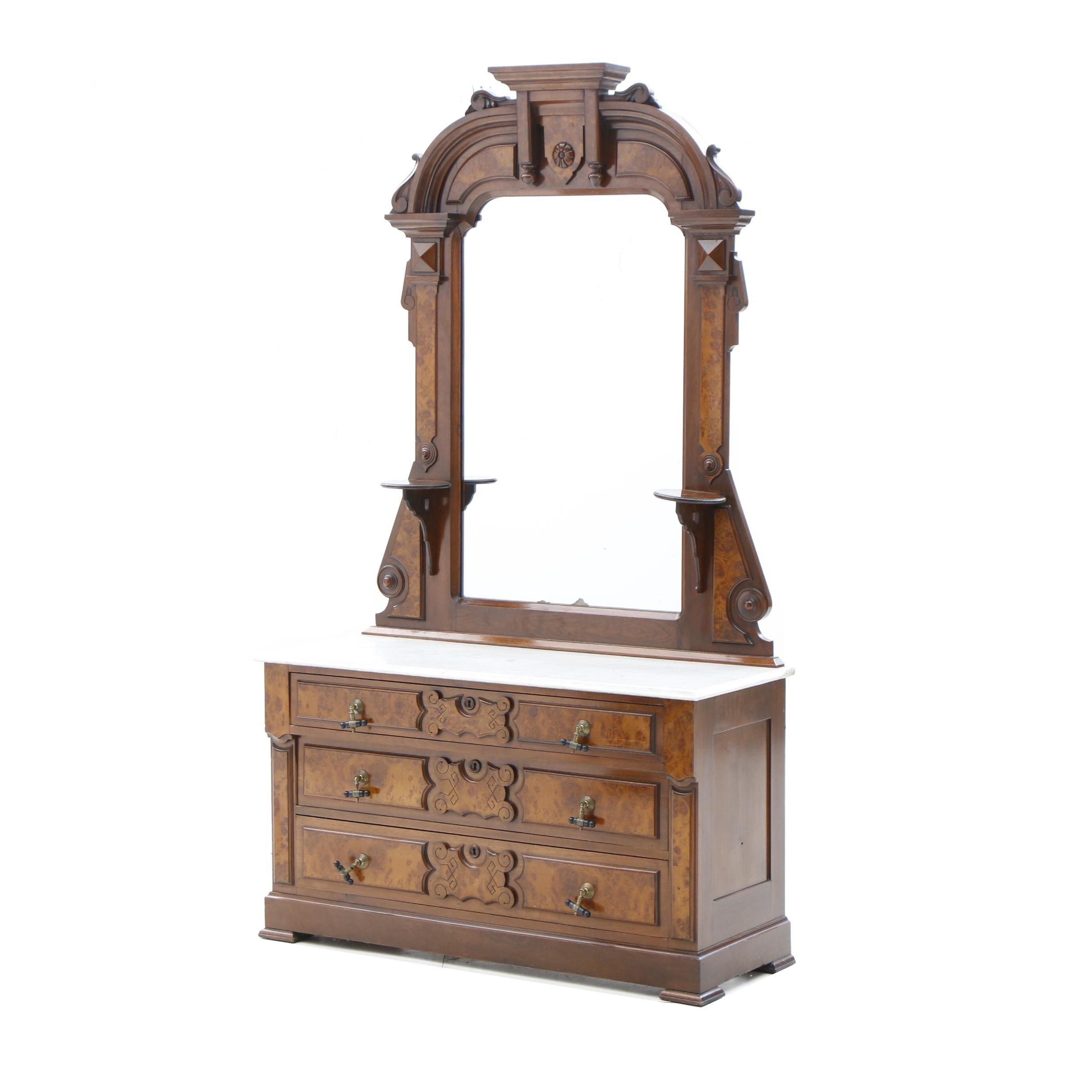 Victorian Walnut Chest with Mirror, Mid to Late 19th Century