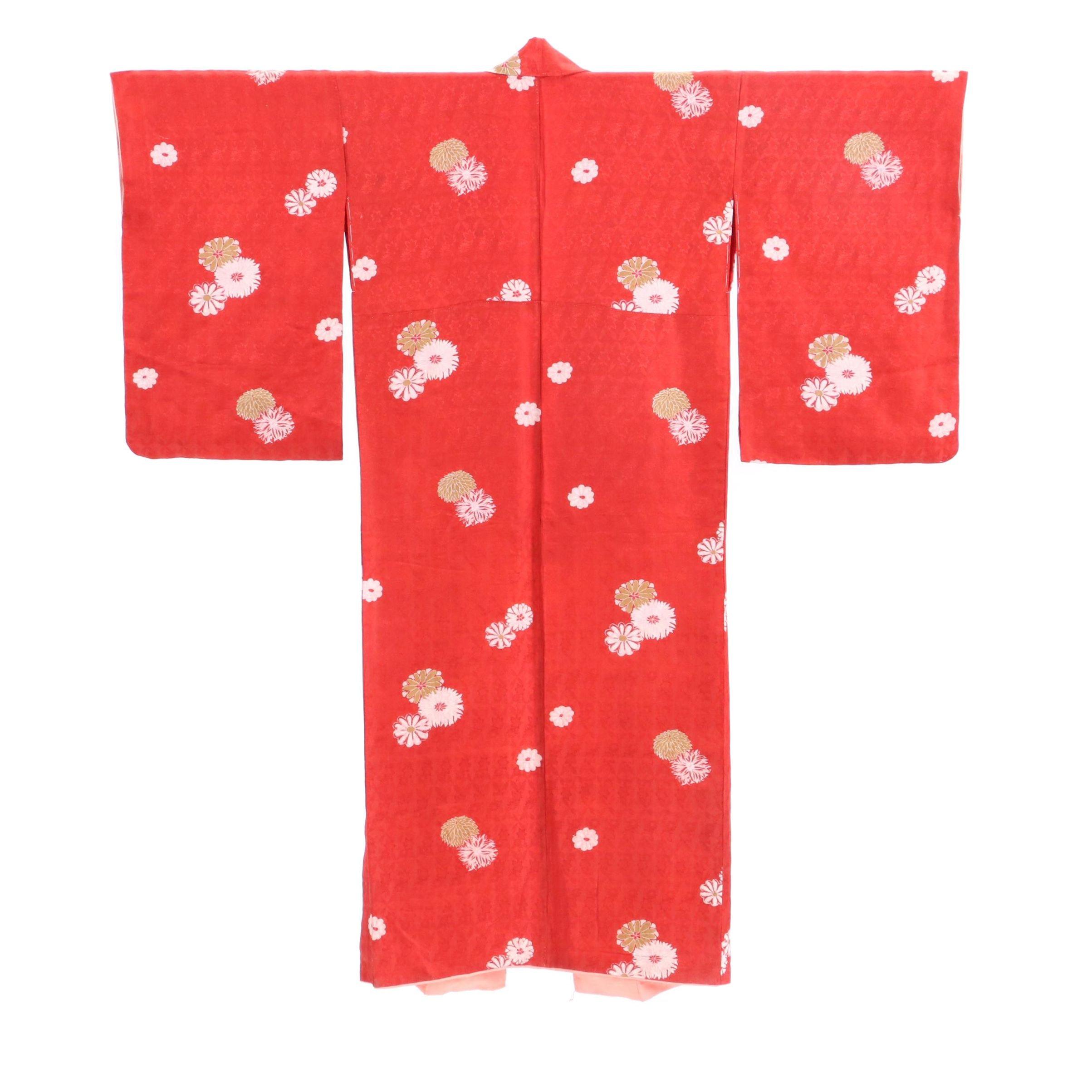 Circa 1920s Vintage Japanese Rinzu Silk Damask Komon Kimono