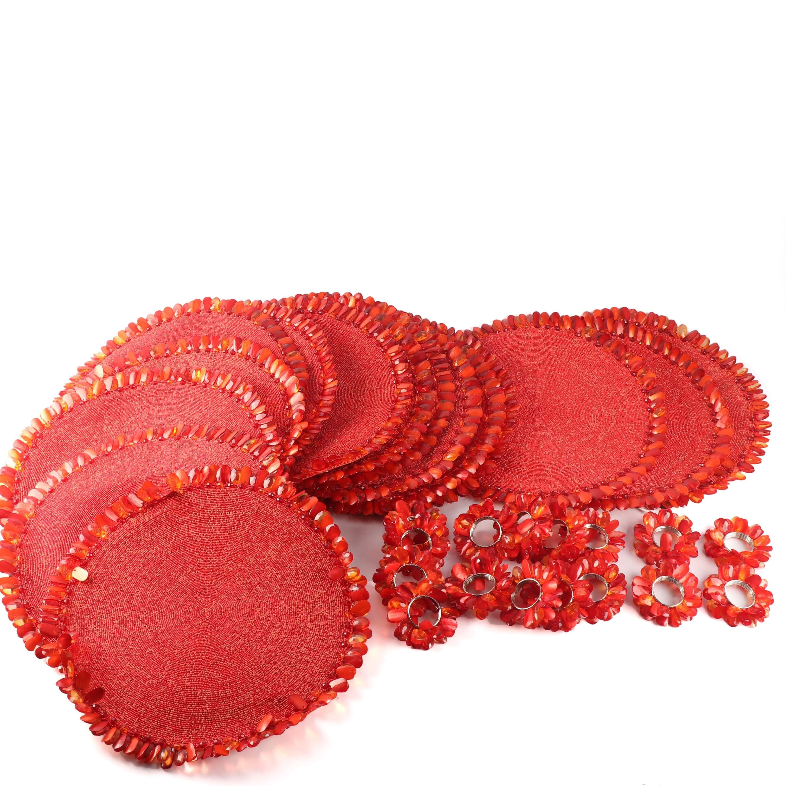 Kim Seybert Red Beaded Placemats and Napkin Holders