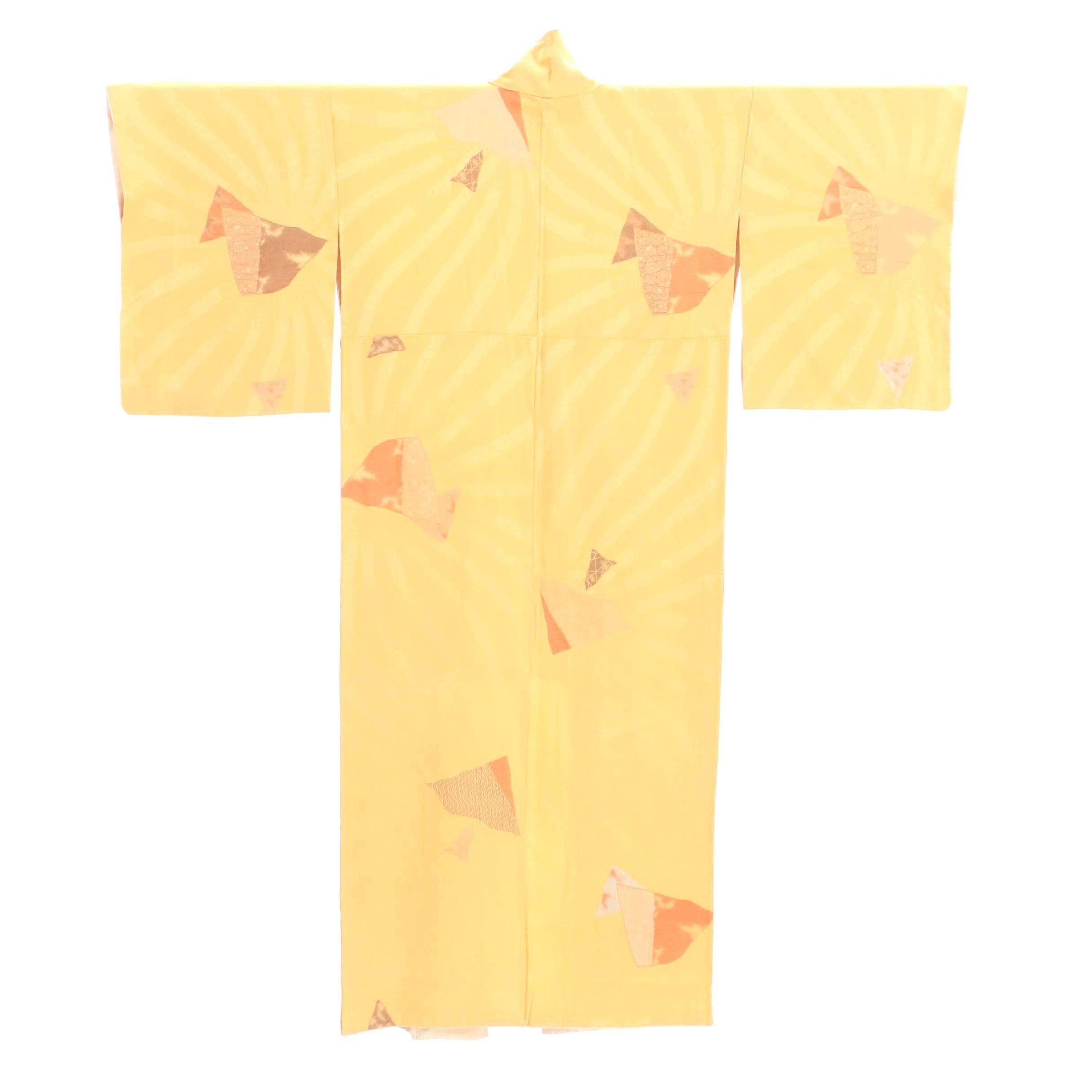 Vintage Japanese Silk Damask Komon Kimono