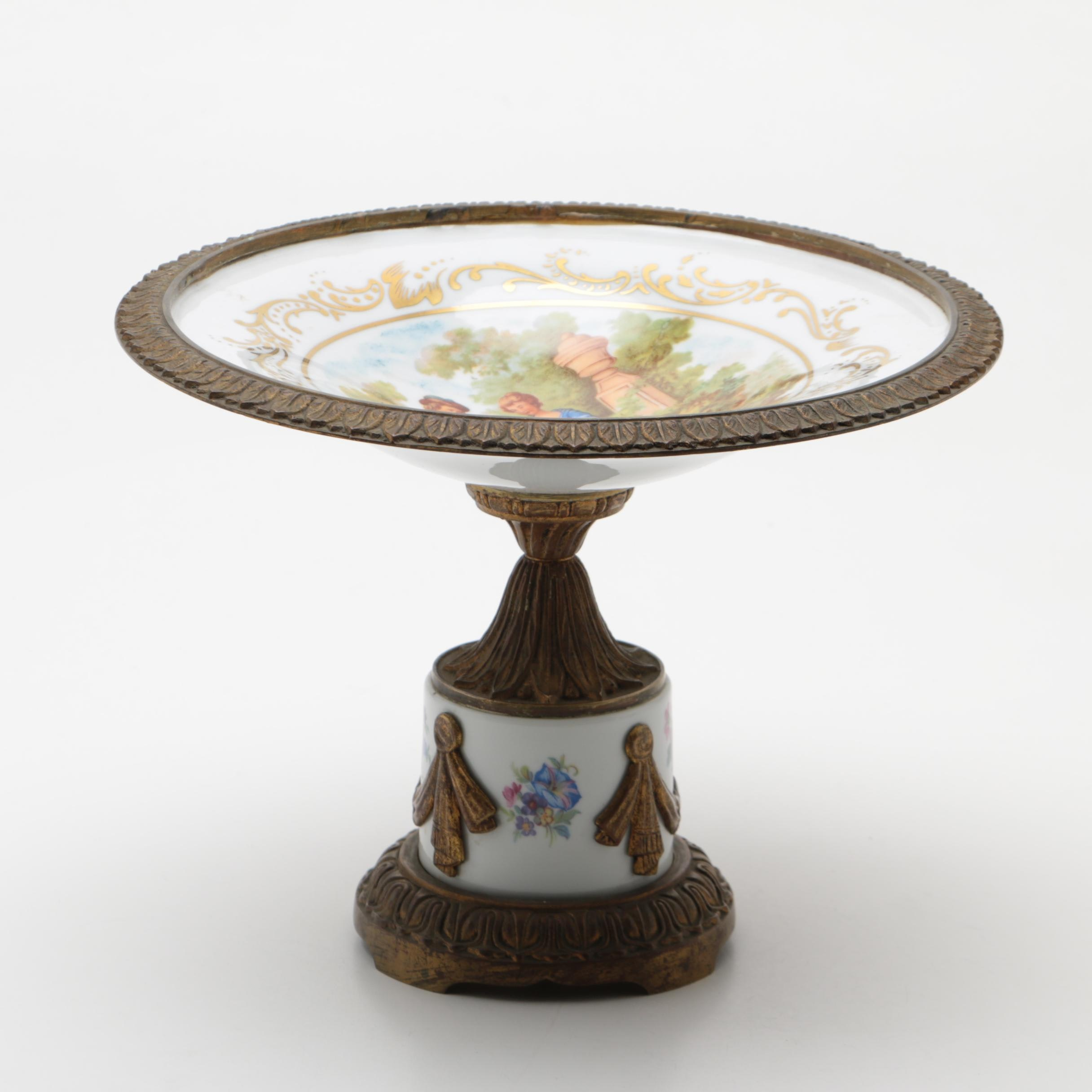 Sevres Style Hand-Painted Gilt Metal Mounted Porcelain Centerpiece
