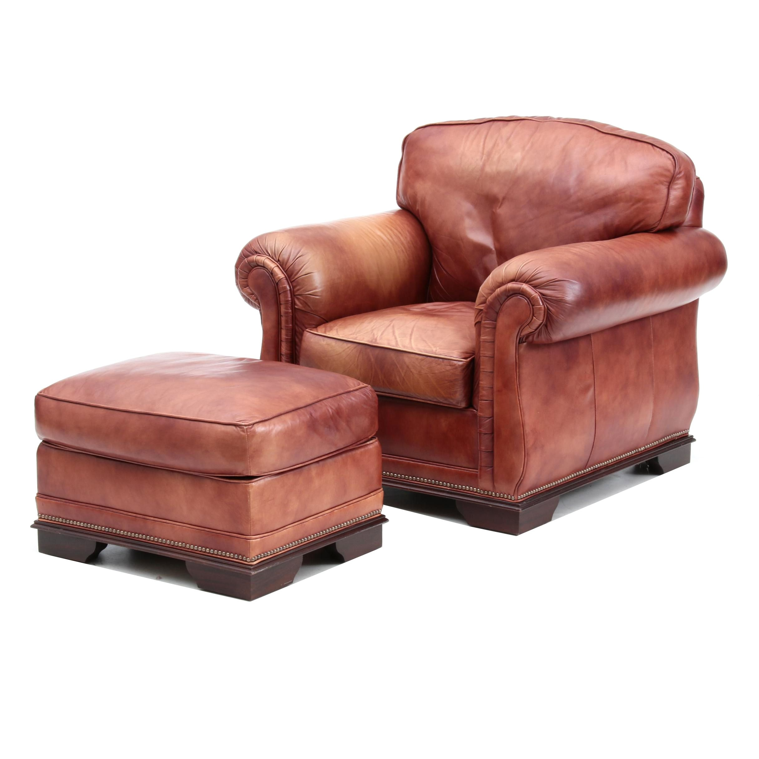 Contemporary Leather Armchair and Ottoman by Classic Leather Inc.
