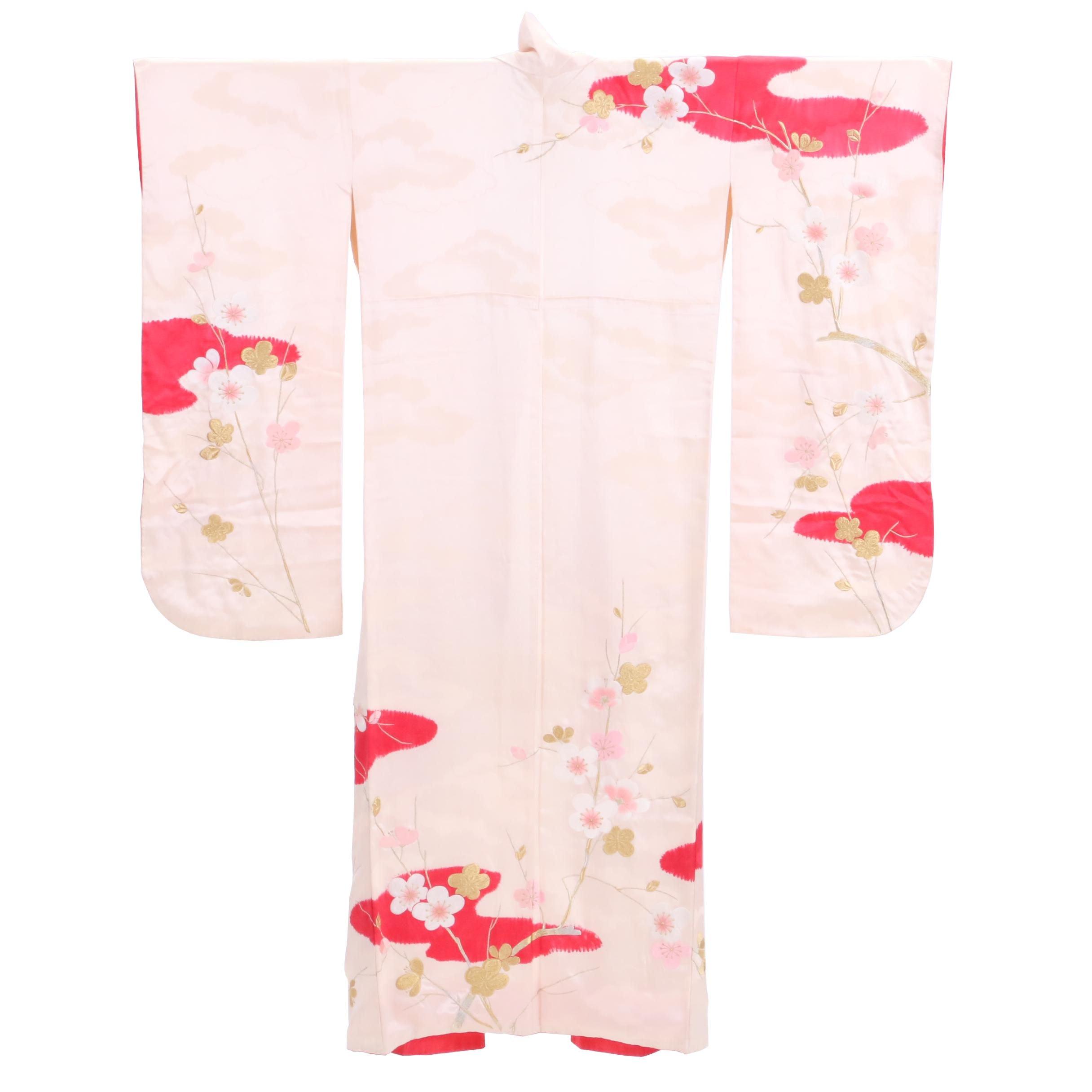 Circa 1960s Vintage Japanese Silk Damask Furisode Kimono