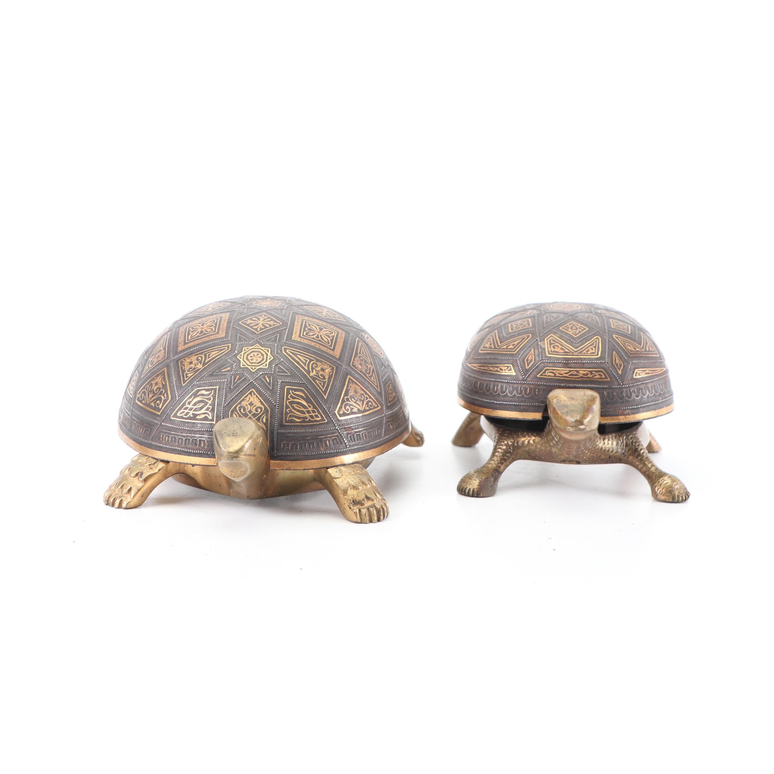 Vintage Damascene Turtle-Shaped Hotel Bells