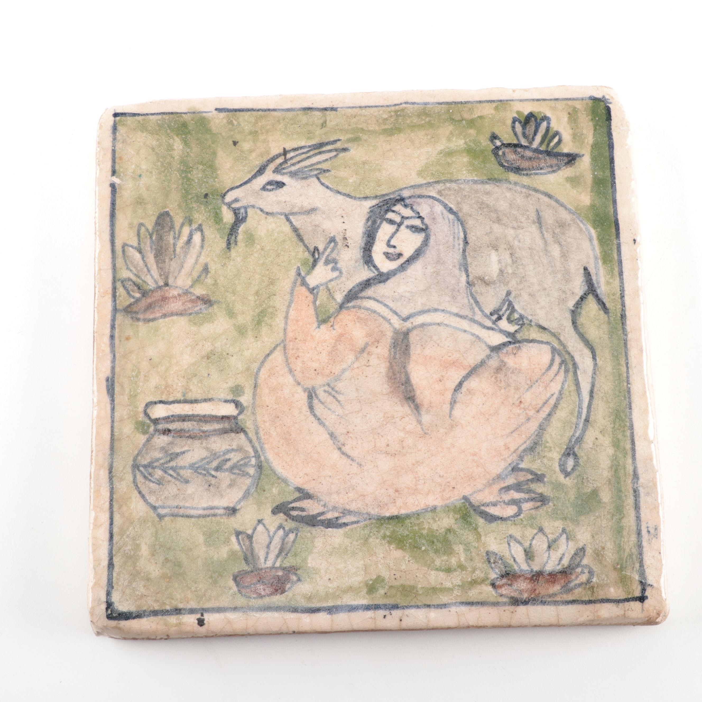 Hand Painted Ceramic Tile with Goat Milking Design