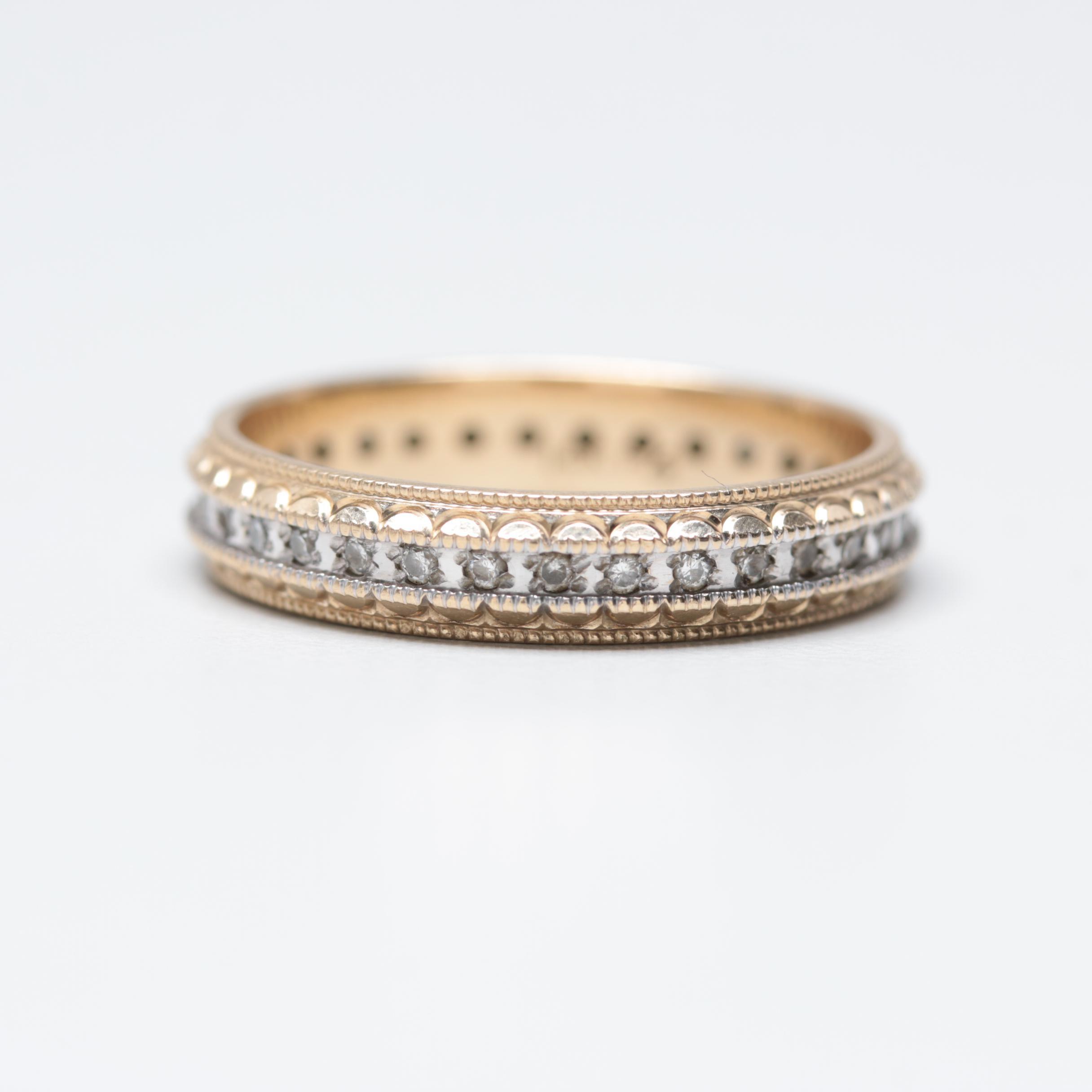 14K Yellow and White Gold Diamond Eternity Band Ring