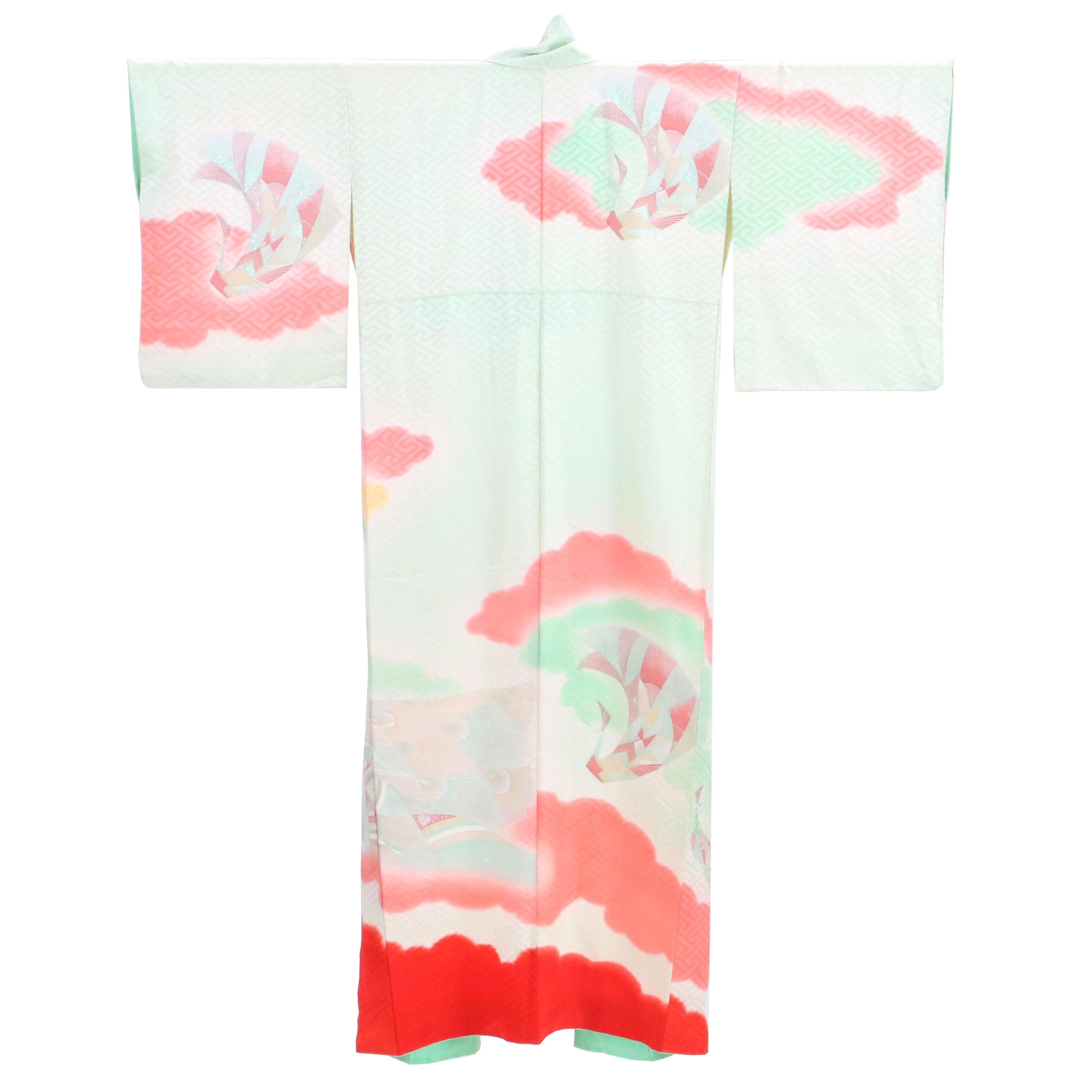 Circa 1960s Vintage Japanese Silk Damask Kimono
