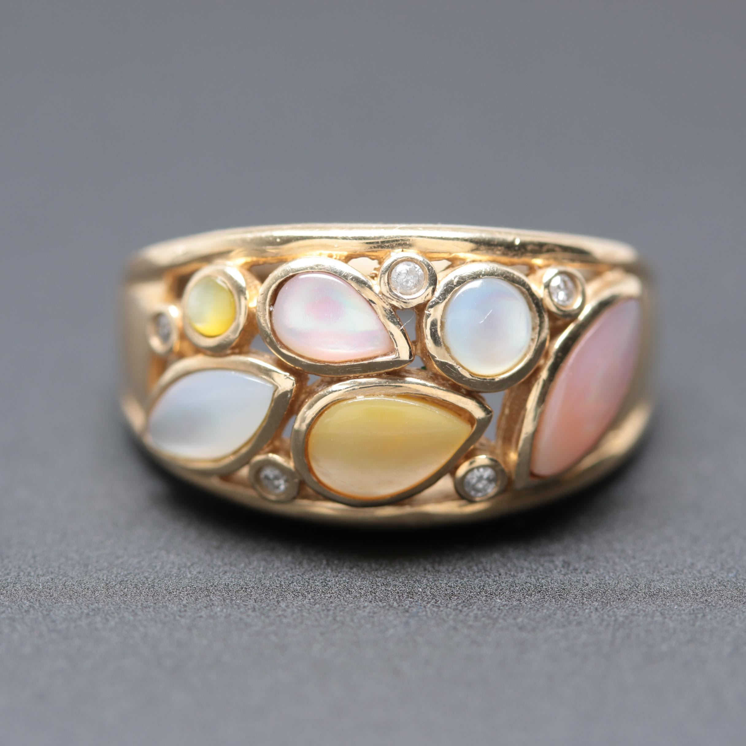 Alwand Vahan 10K Yellow Gold Mother of Pearl and Diamond Ring