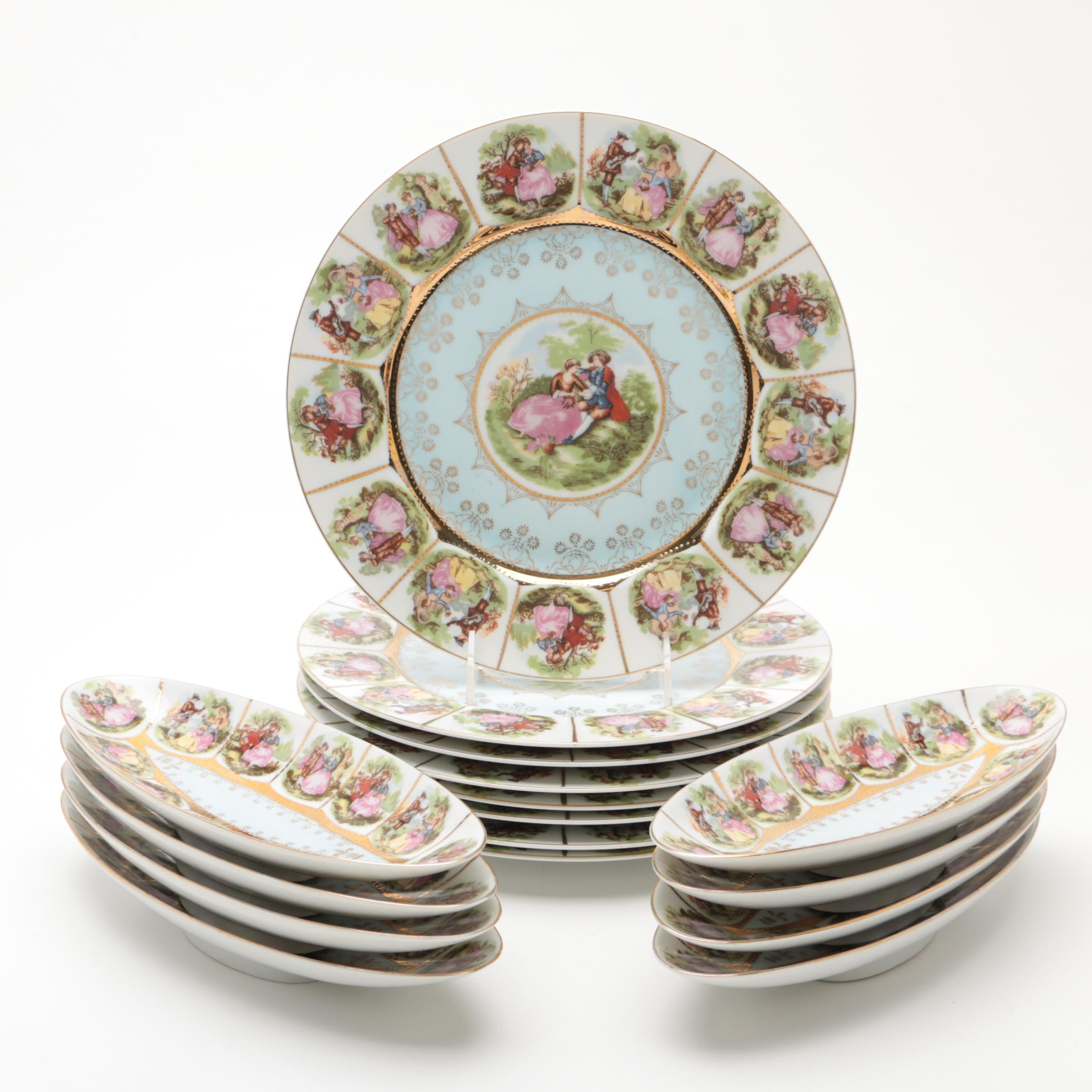 Vintage Provincial Romantic Scene Porcelain Plates and Footed Oval Bowls