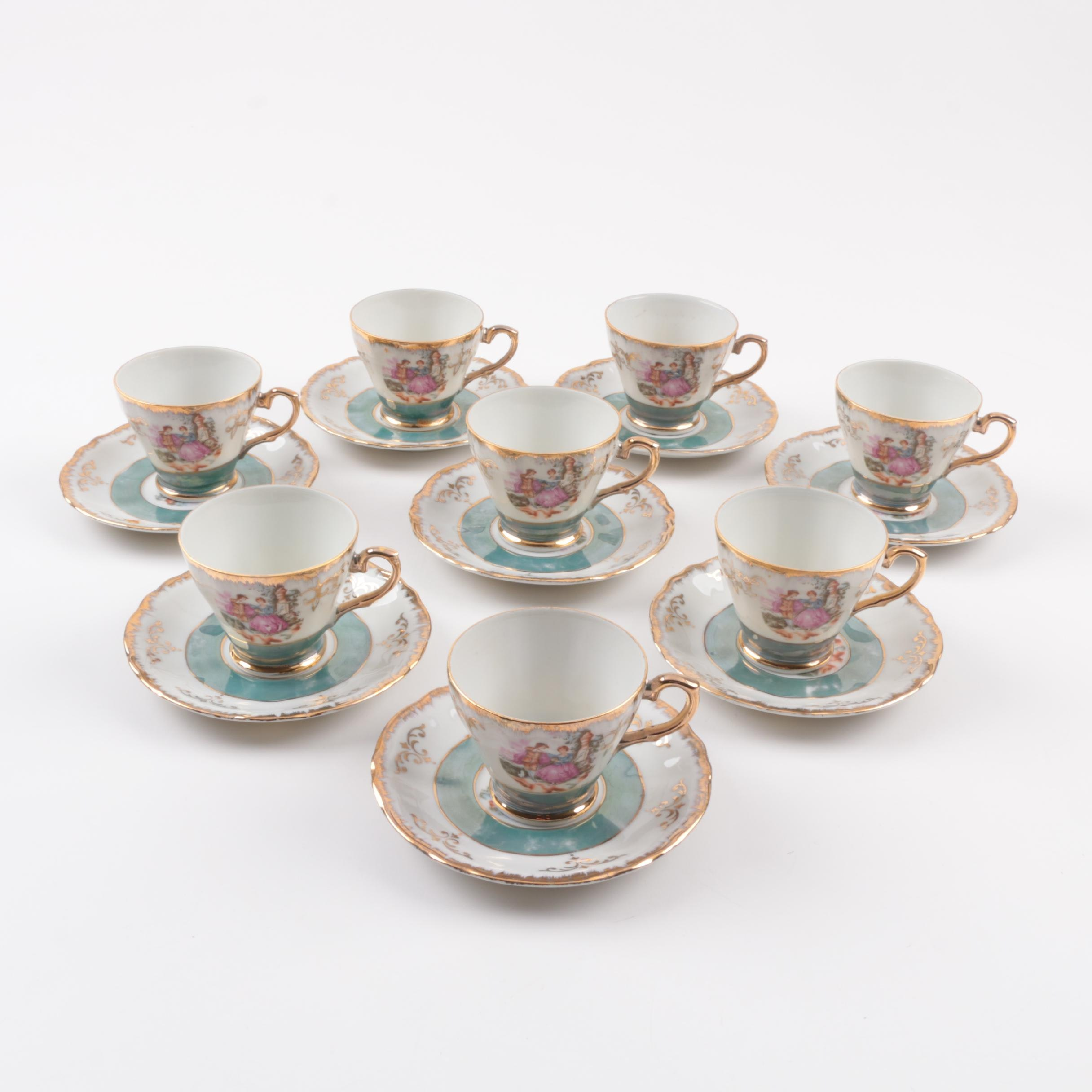 Vintage Porcelain Luster Demitasse Coffee Cups