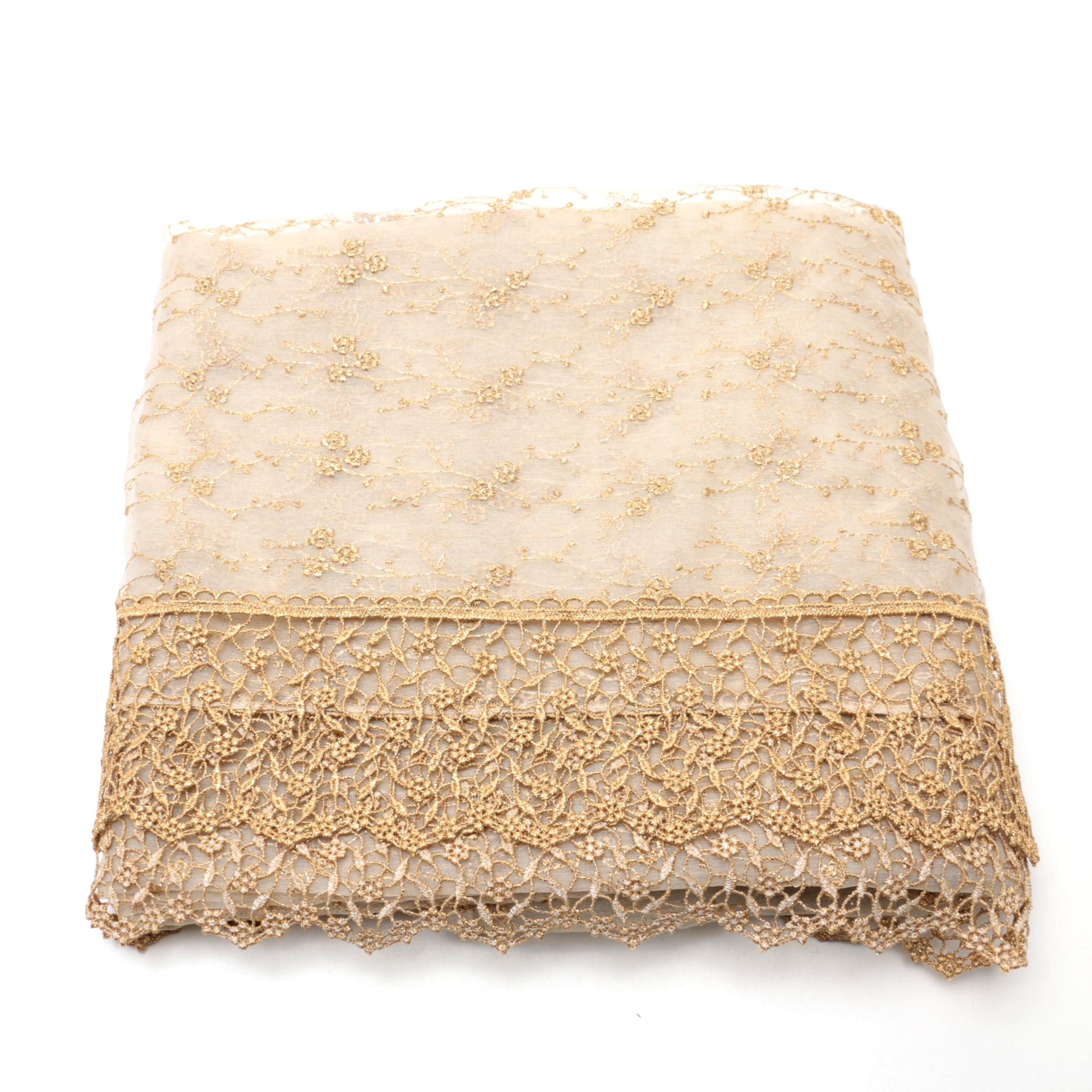 Sheer Gold Table Runner With Lace Trim