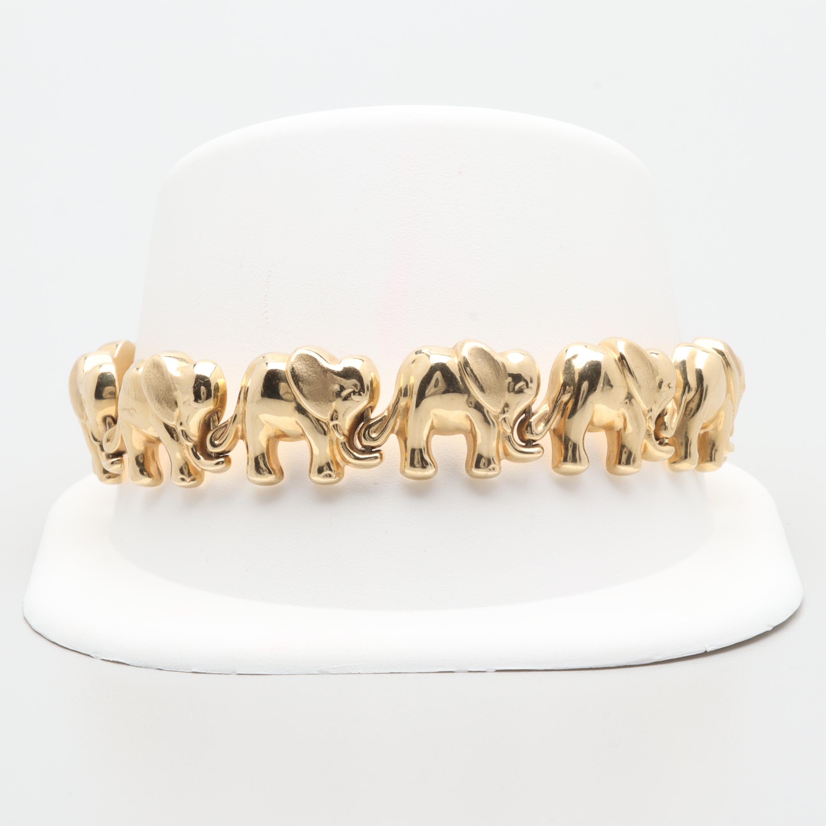 14K Yellow Gold Elephant Link Bracelet