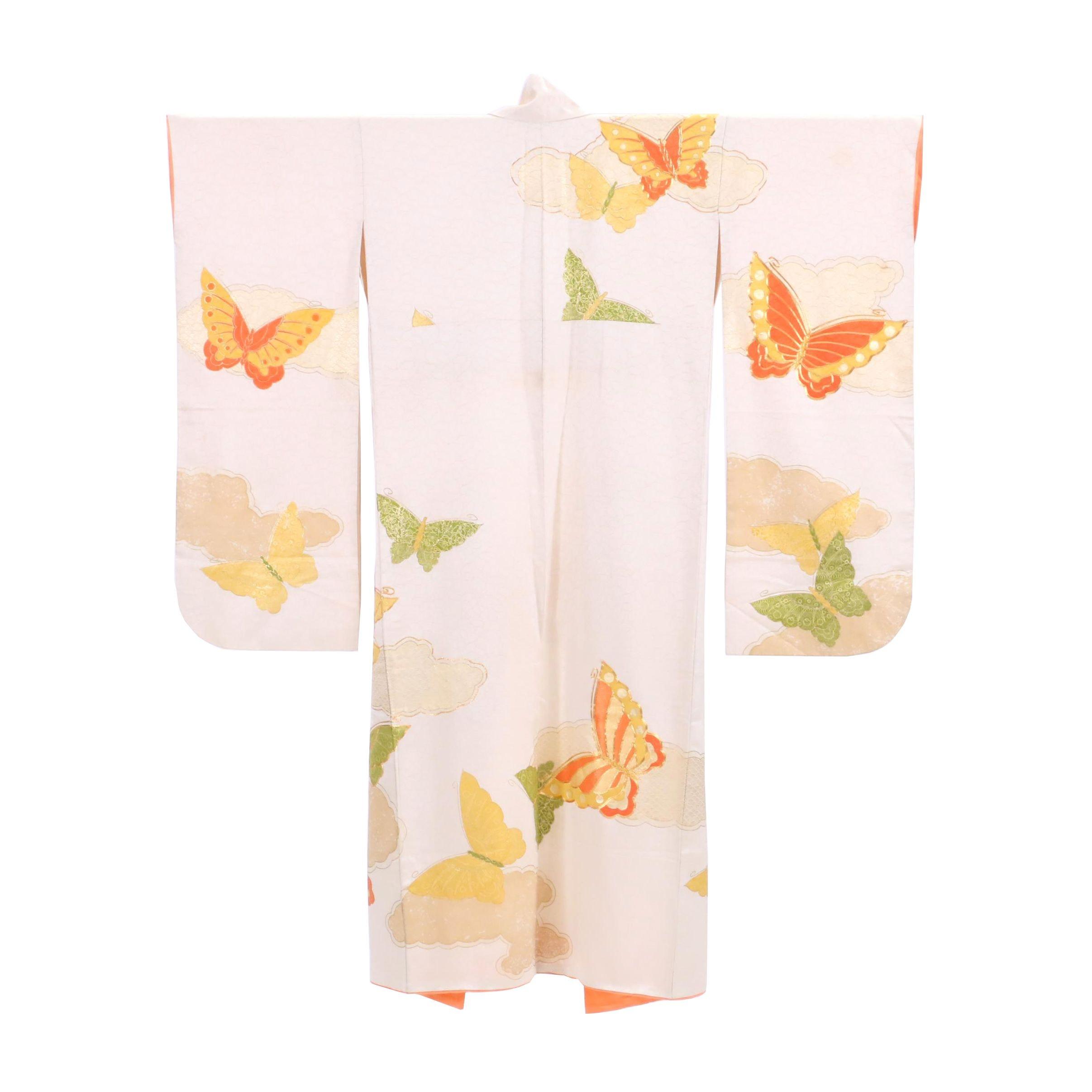 Vintage Japanese Handwoven Silk Furisode Kimono