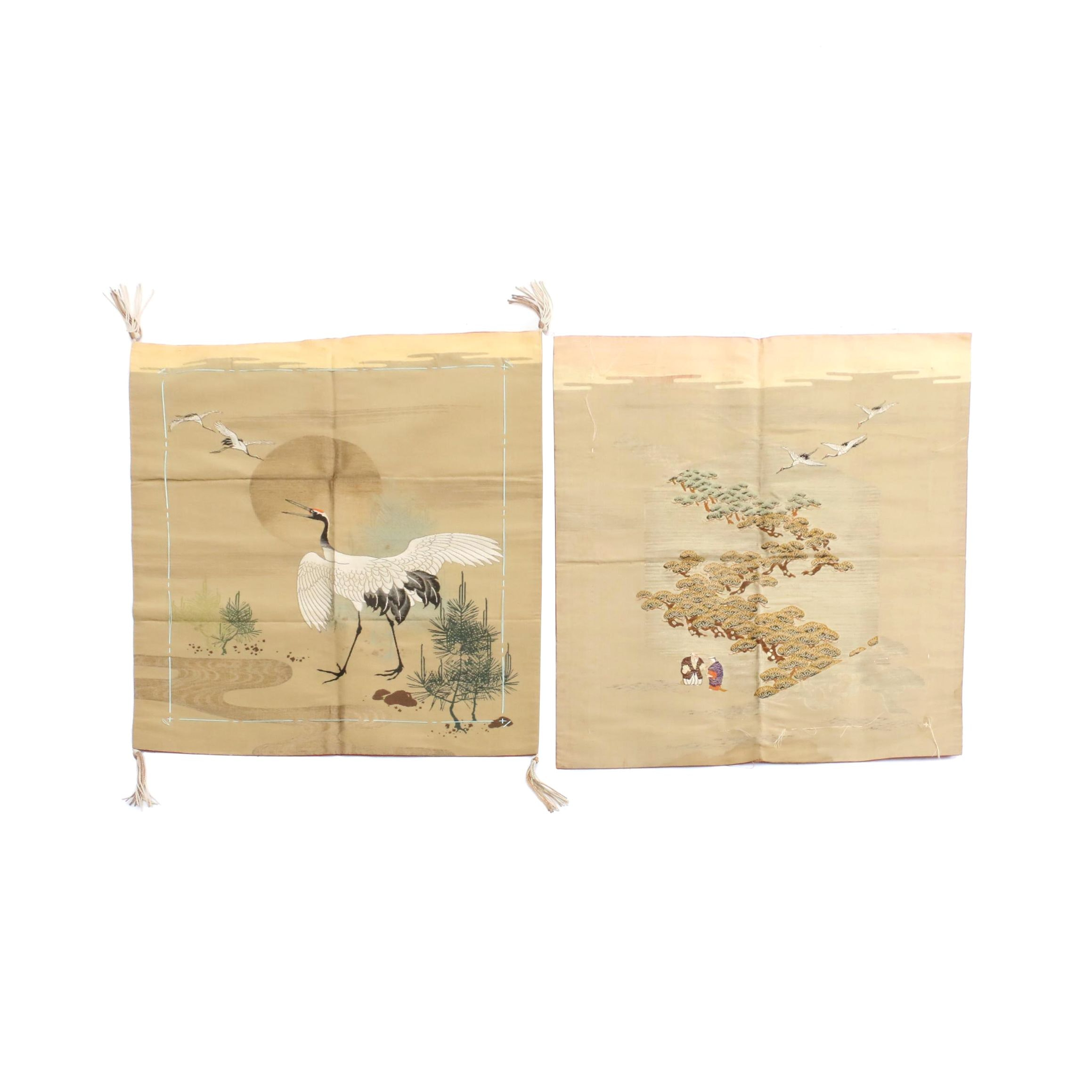 Japanese Silk Embroidered Pillow Covers