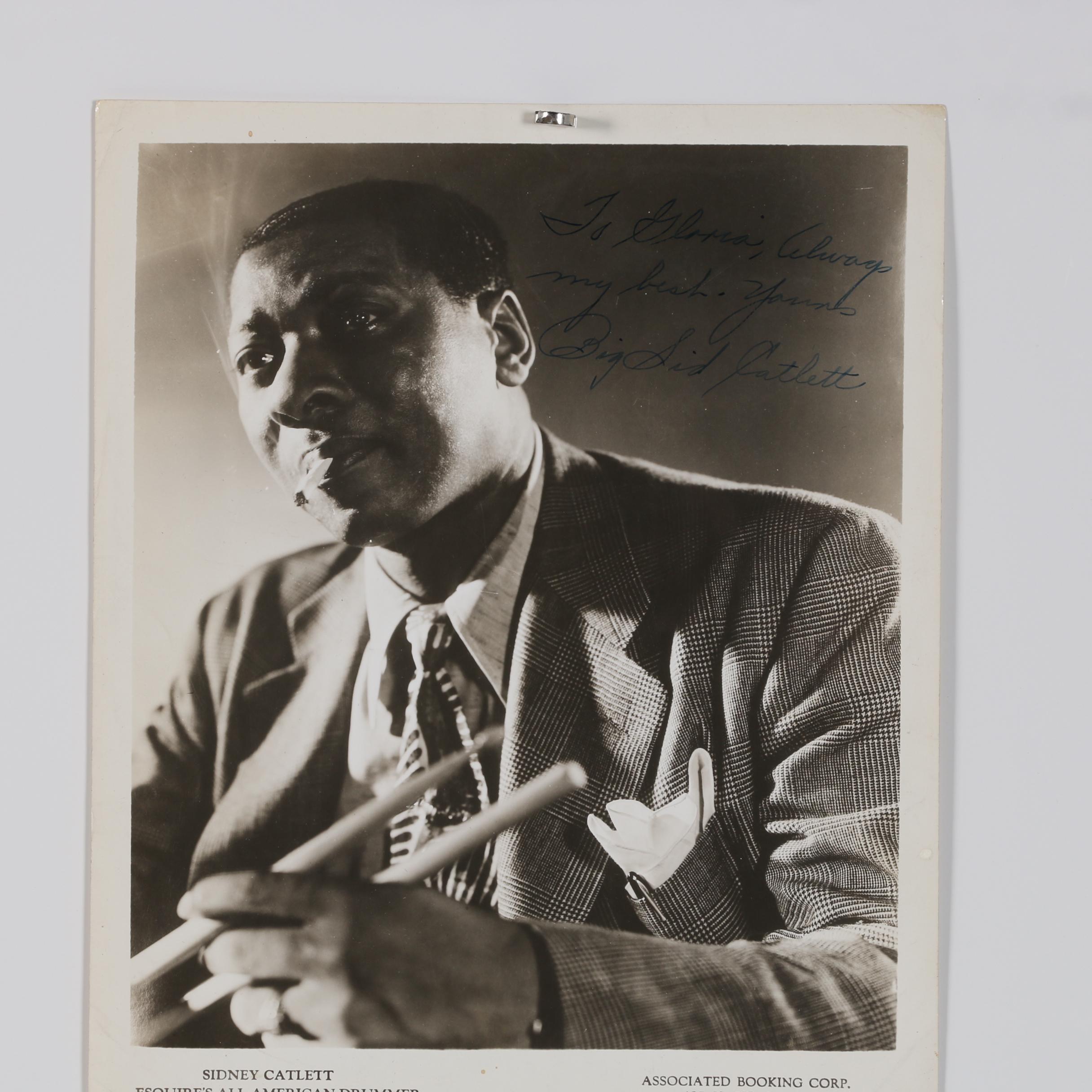 Autographed Sidney Catlett Silver Gelatin Photograph